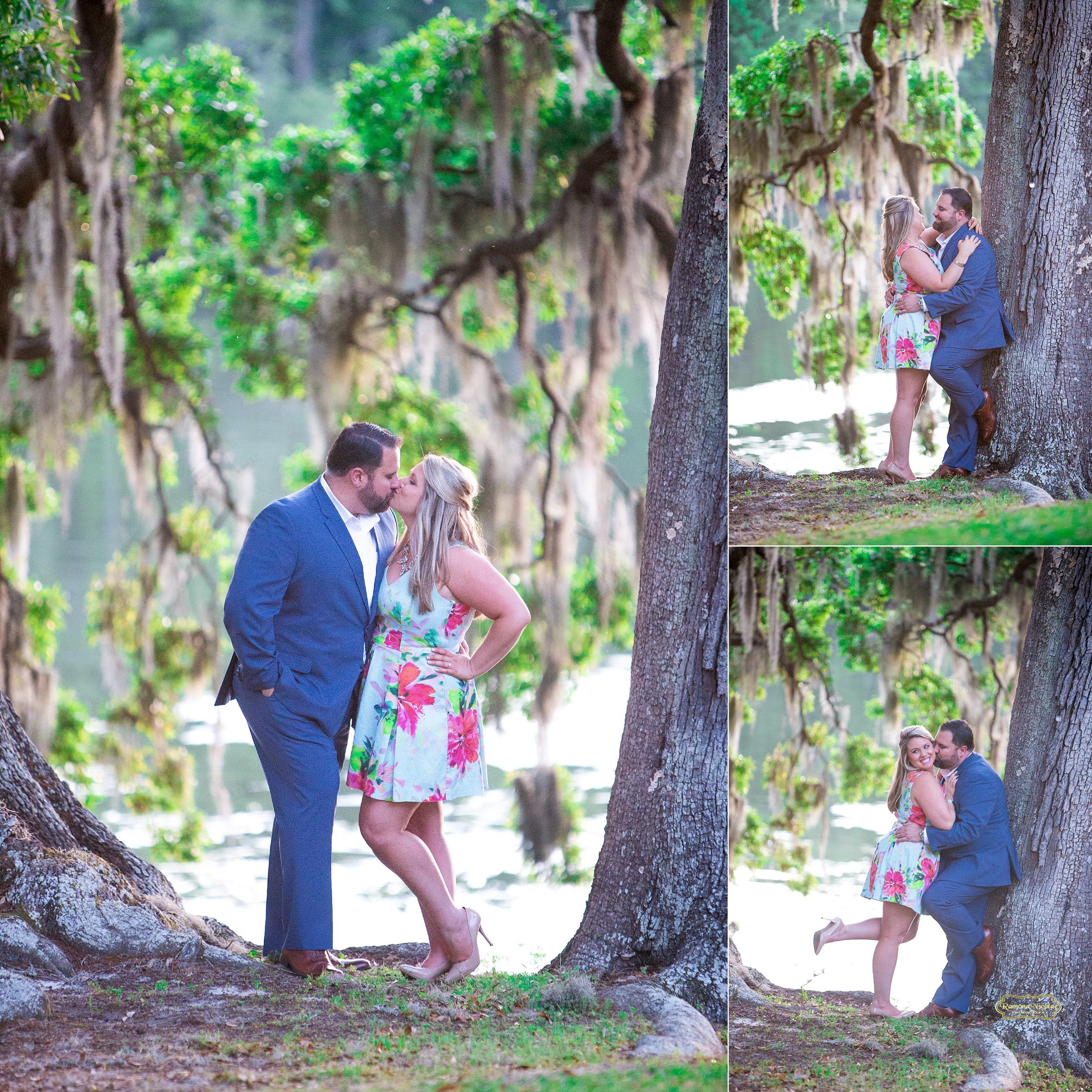 couple kissing under the trees with spanish moss at wachesaw plantation during engagement session with ramona nicolae.jpg