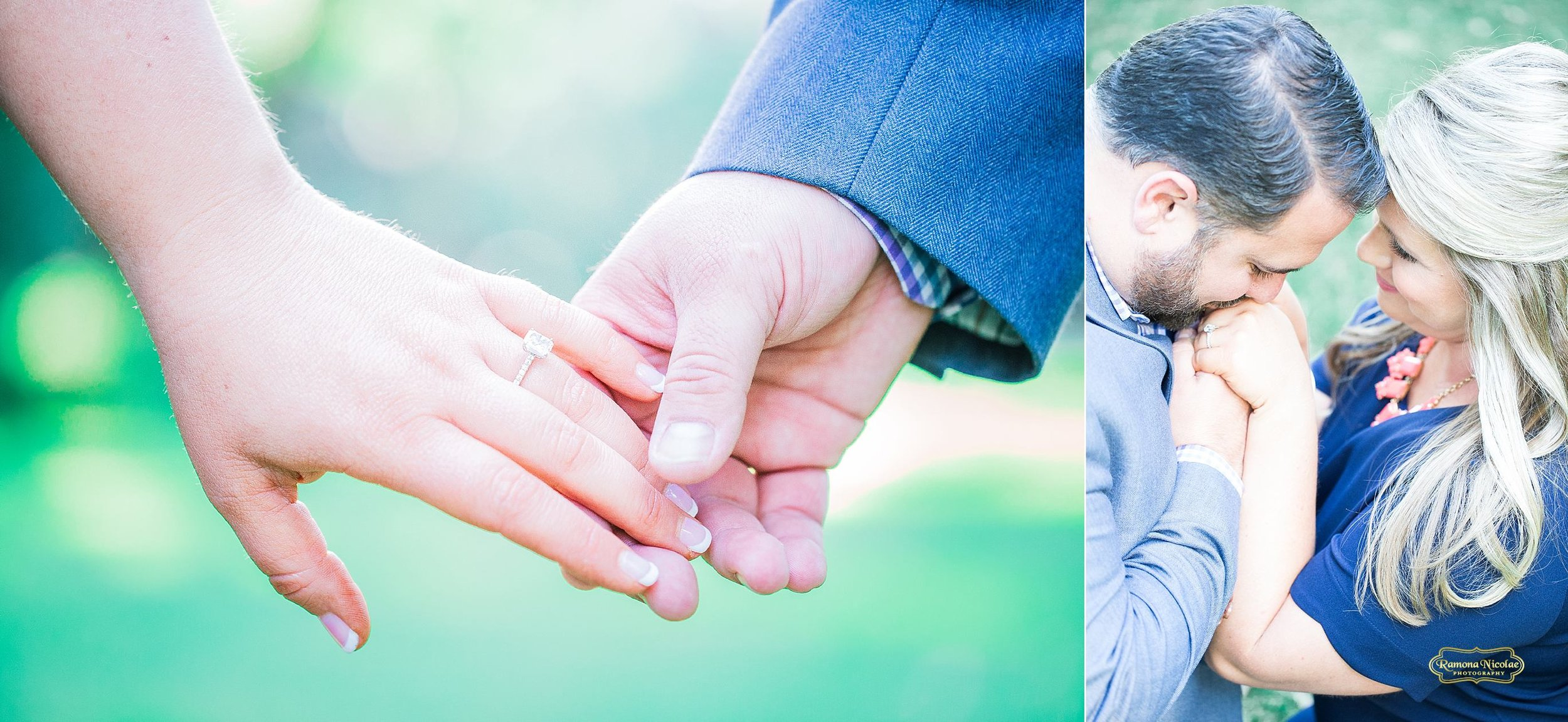 holding hands and kissing hands with engagement ring at wachesaw plantation for engagement session with ramona nicolae myrtle beach photographer.jpg