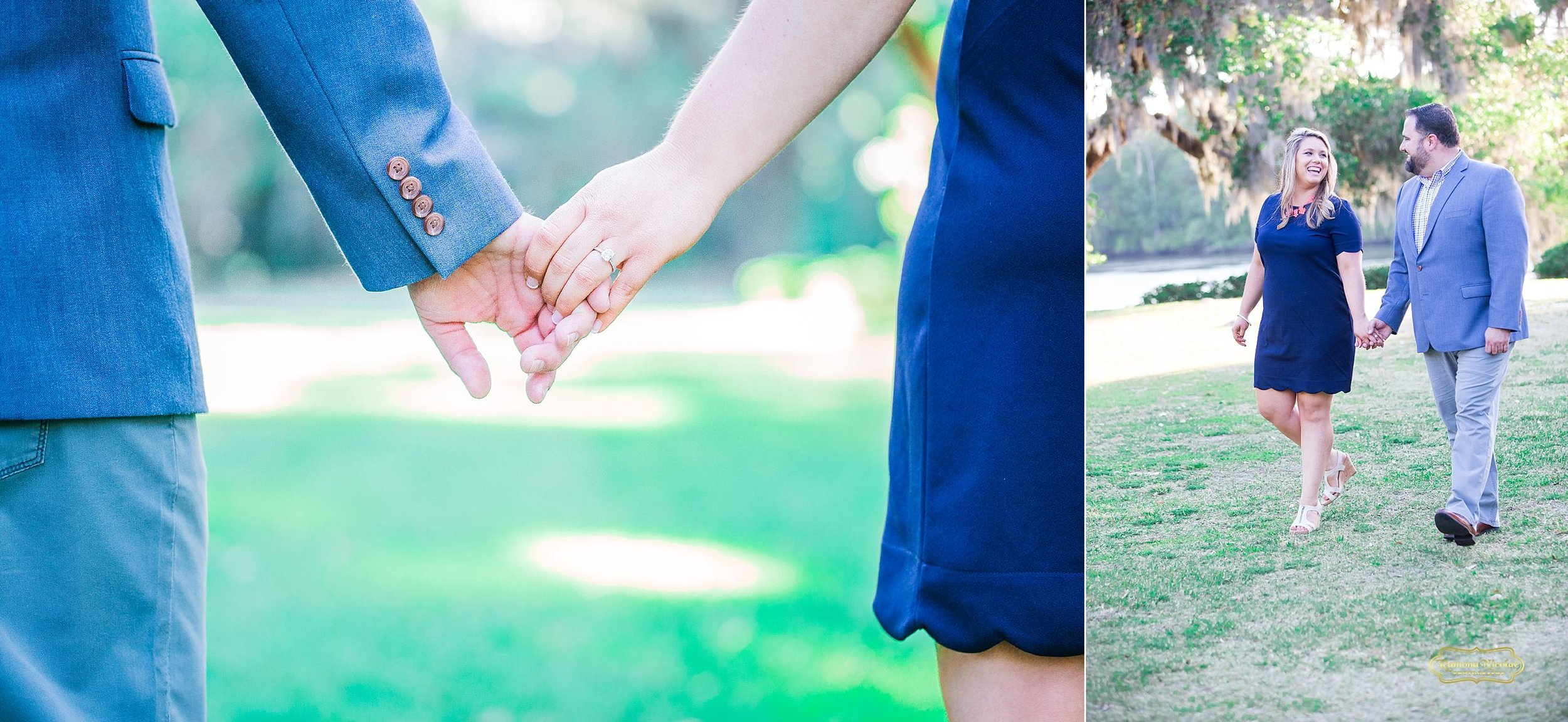 holding hands walking and laughing for ramona nicolae photography engagement session at wachesaw plantation.jpg