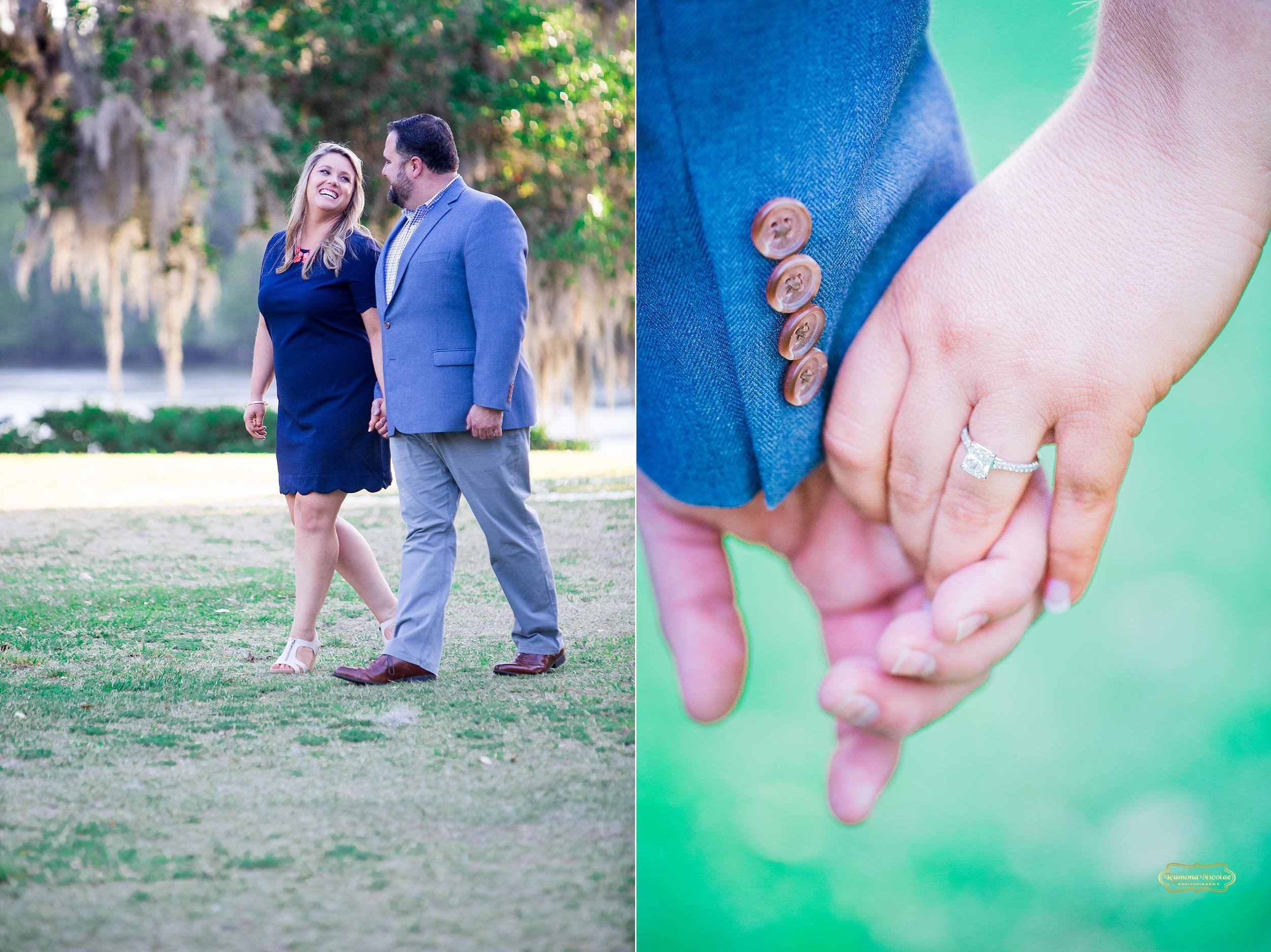 holding hands walking dressed in blue at wachesaw plantation for engagement photography in murrells inlet.jpg