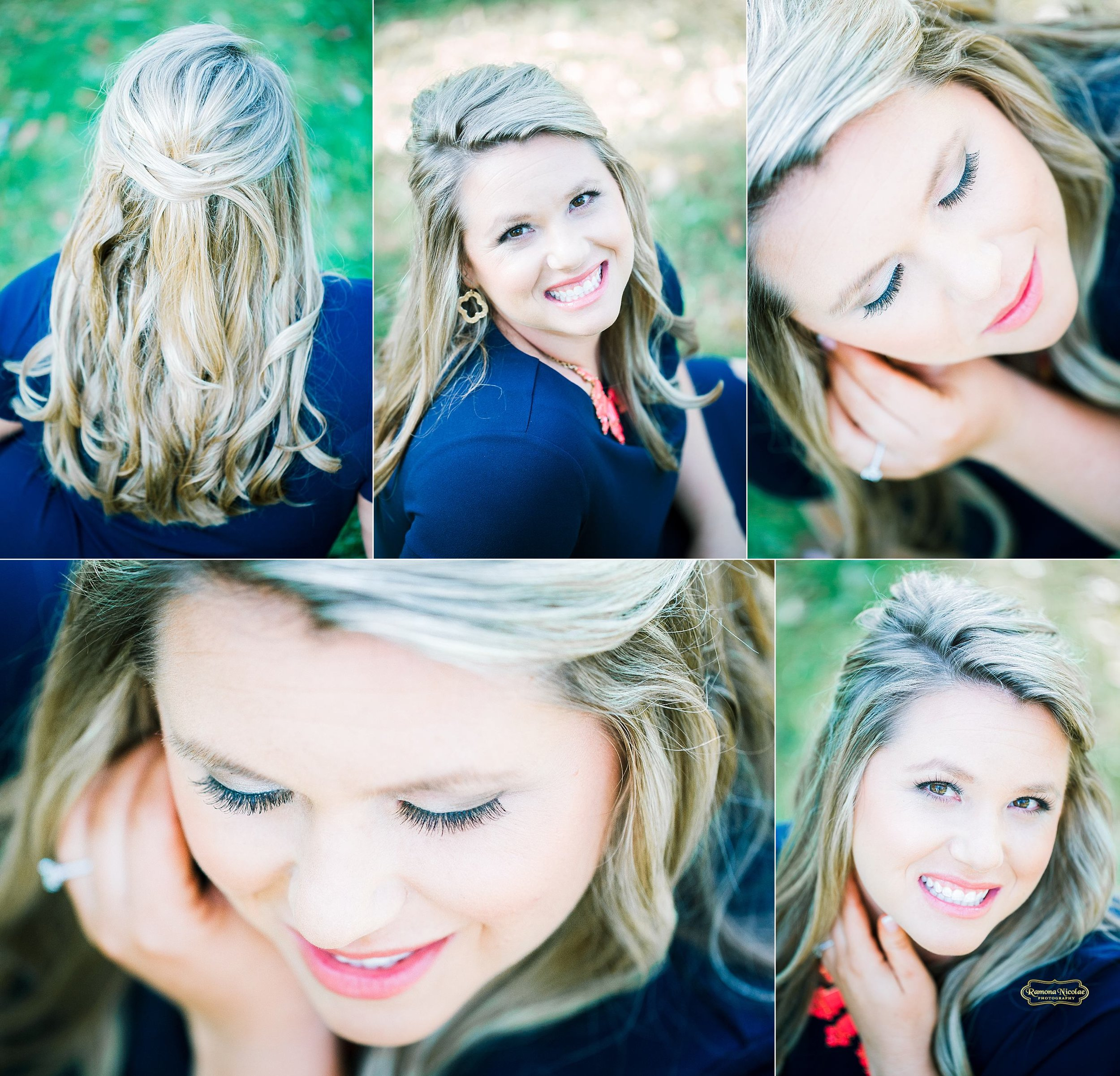 make up and hair details during engagement session at wachesaw plantation of beautiful blonge lady smiling with ramona nicolae photography.jpg