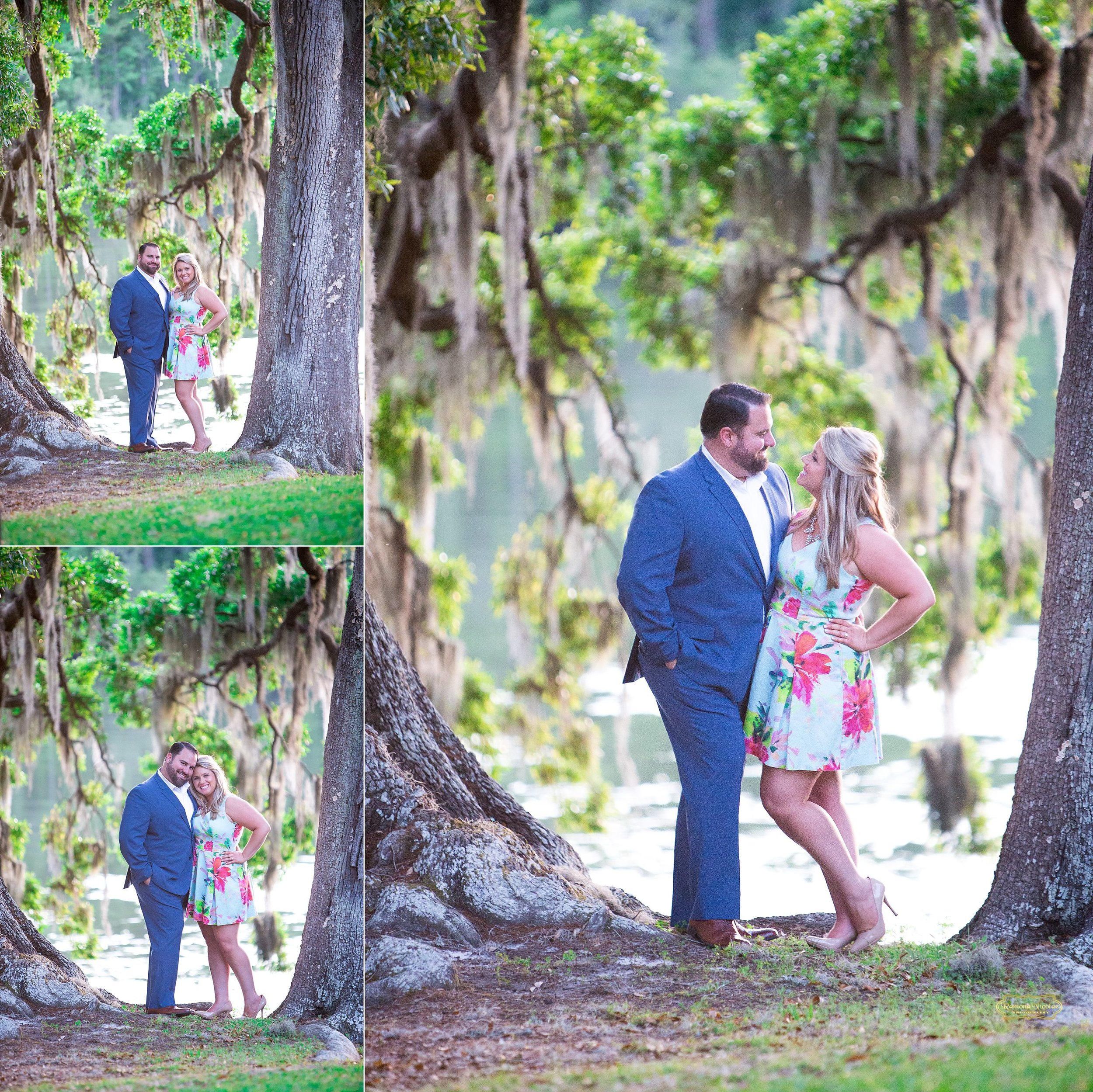 intimate moment with couple under spanish moss oak trees at wachesaw plantation in murrells inlet with floral dress.jpg
