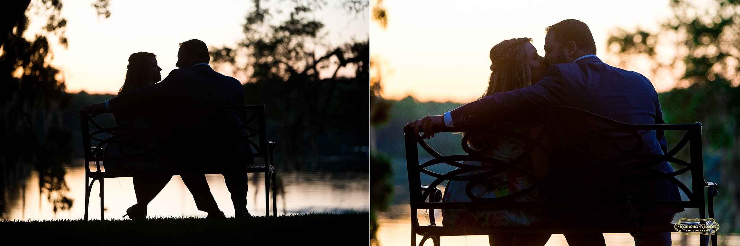 silhouette of couple during sunset at wachesaw pantation with rmaona nicolae myrtle beach wedding photographer.jpg