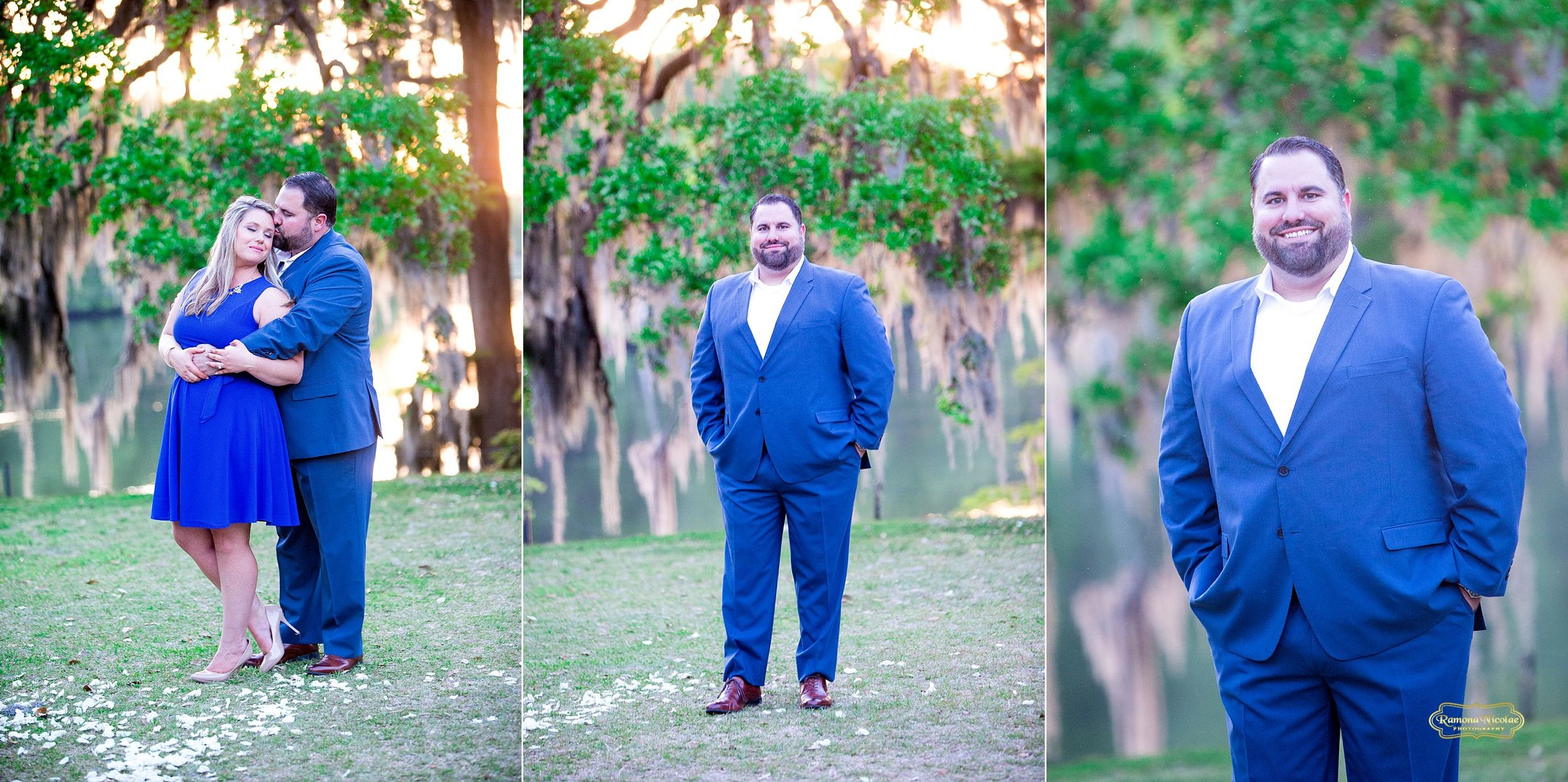 wachesaw plantation engagement shoot couple in greenery dressed in blue .jpg