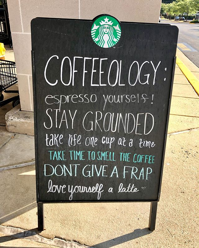 I stopped by Safeway this morning to buy a few things, and was greeted by this most excellent sign out front. Well done, Safeway Starbucks! #safeway #starbucks #signs #sidewalksigns #philosophy #coffee #coffeequotes☕️ #lifeisgood #nicesurprises #grateful #shopping