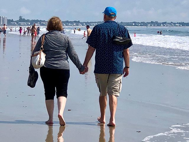 Walking along the ocean with Debbie, at Old Orchard Beach. Beautiful moment, beautiful life, beautiful wife. Thanks for making my life better than I ever imagined it could be, Debbie. Thanks to our friend Sherry for catching this candid moment for us. Life is good, and I am grateful. #oldorchardbeach #ocean #maine #ilovemywife #ilovemylife #lifeisgood #simplepleasures #walking #barefoot #ilovemyfriends #thebeachismyhappyplace #beach #mindful #happiness #liveinthemoment #grateful #lovewins