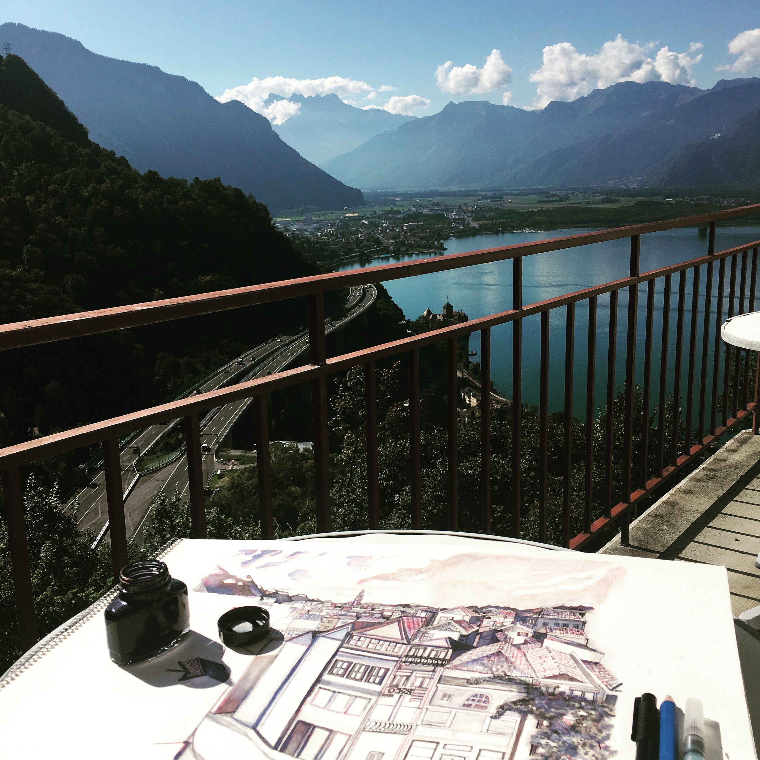 - You will often find me creating artwork on my balcony as I look out onto the beautiful Lake Geneva with a cup of tea in hand and music playing.