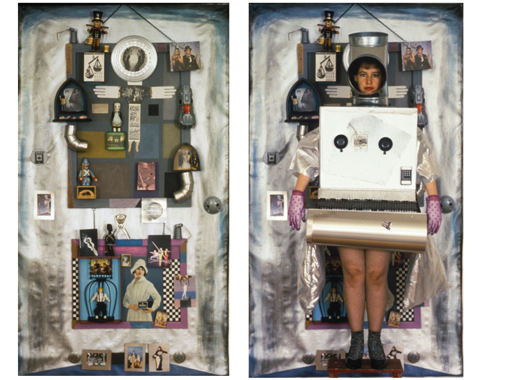 ON LEFT: Metropolis / ON RIGHT: Metropolis Costume (Rhonda Wall), with piece, collage