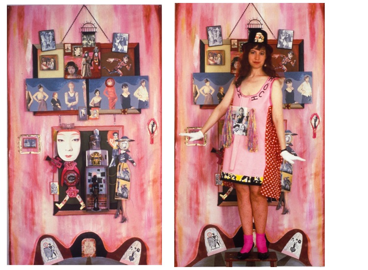 ON LEFT: Hoch and the Women of the Weimar Republic /  ON RIGHT: Hoch and The Women of the Weimar Republic Costume (Rhonda Wall) with piece, collage.