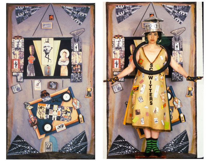 ON LEFT: Schwitters and Others / ON RIGHT: Schwitters Costume (Rhonda Wall), with piece, collage