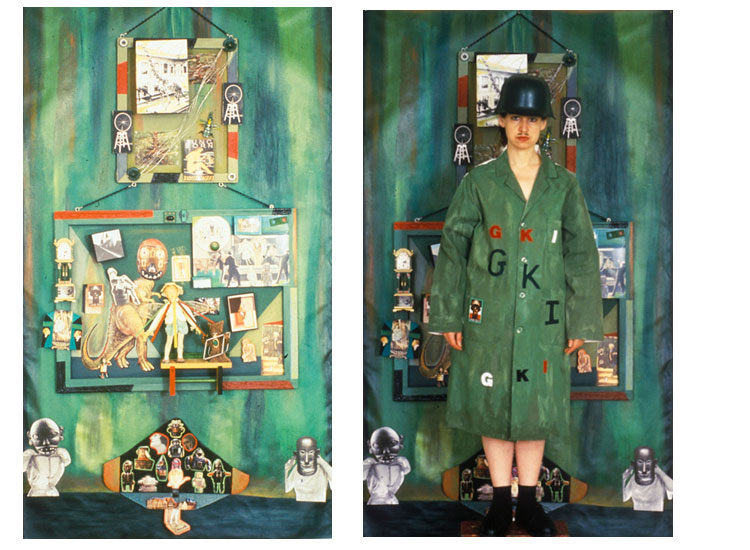 ON LEFT: Extinction / ON RIGHT: Extinction Costume (Rhonda Wall) with piece, collage