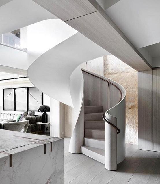 Curves ahead. • • • Design by: @jgskdesign Via: @brynnolsondesigngroup  #inspiration #interiordesign #staircase #stairs #kitchendesign #interiors4all #design123 #lines #sodomino #elledecor #architecturephotography #dreamkitchen #chicago #chicagoland #stunninghomes #luxuryhomes #homegoals #interiorstyling #interiorspaces #marblekitchen