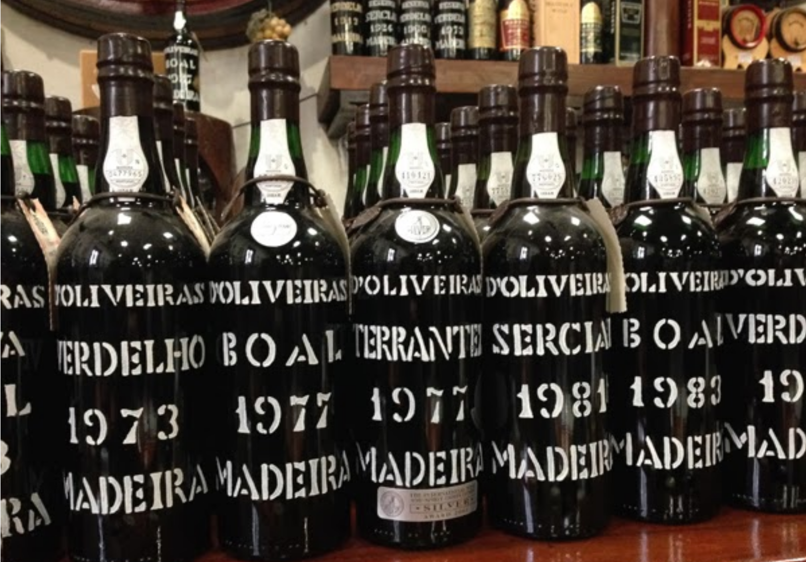 """typical Madeira vintage bottles; Terrantez is another """"noble"""" variety, but even less common - 1976 and 77 were particuarly good years for this grape"""