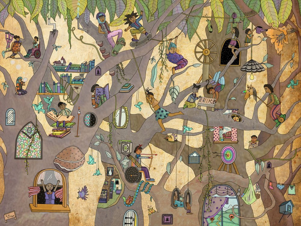 """""""In Which They Lived (furiously, fearlessly)....in trees (#1)"""" by the wonderful  Shloka M. Ettna (reposted with permission from the artist)."""