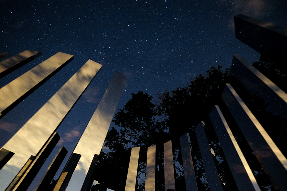 "Sometimes having ""an in"" with the owners pays dividends! As a Trustees staffer I was able to spend the evening at World's End in Hingham to capture Jeppe Hein's beautiful work under the stars."