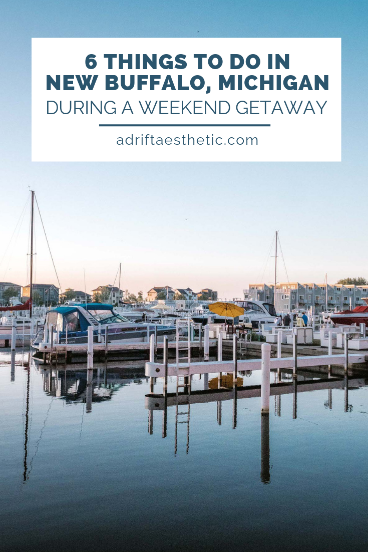 New Buffalo, Michigan is the perfect spot for a relaxing weekend getaway in the Midwest. With gorgeous sunsets at New Buffalo Beach, amazing food, and so many fun local attractions nearby, you can tailor your time to be your own perfect vacation. Grab some ice cream, go for a hike and enjoy New Buffalo! #michigan #traveldestinations #michigantravel