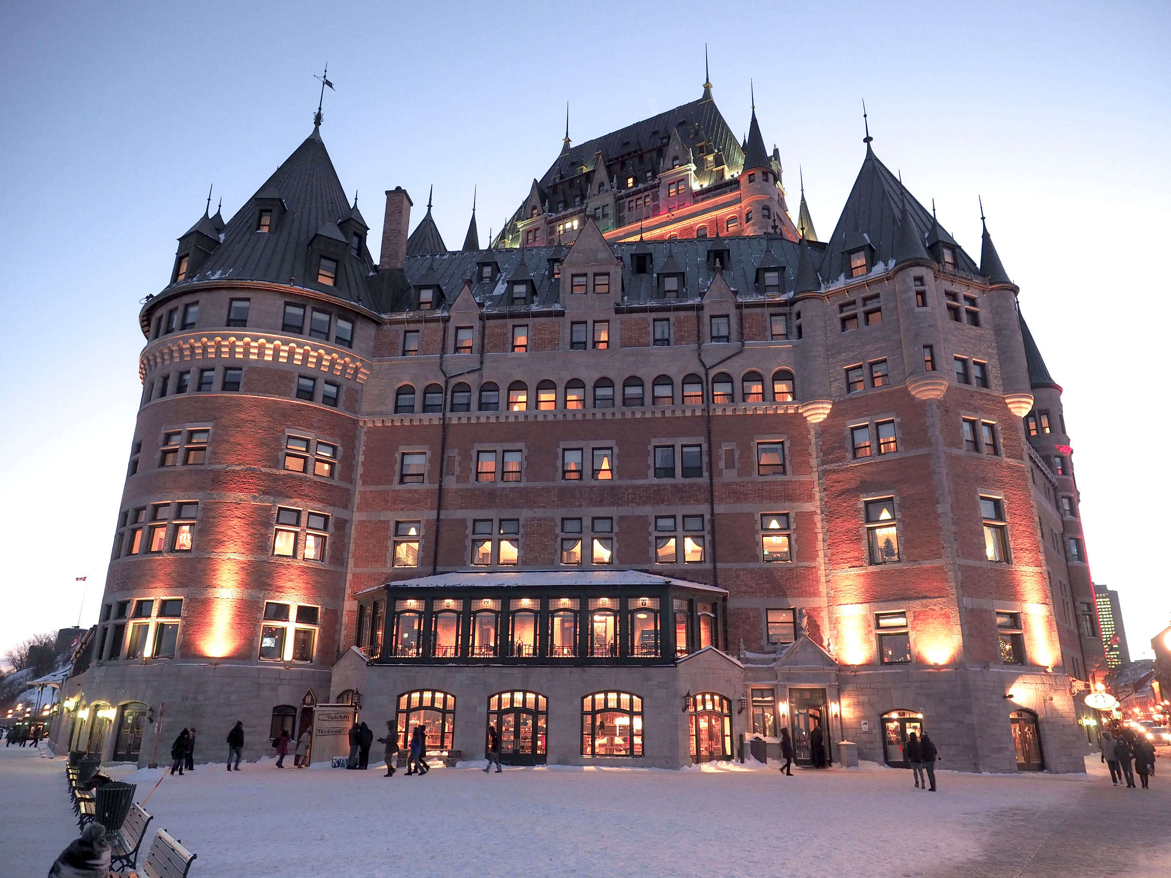 The Chateau Frontenac is not only the most iconic lodging in Quebec, but one of the most photographed hotels in the world! When you are looking for where to stay in Quebec City throughout your travels in Canada, make sure you experience this historic hotel first hand. #canadatravel #hotelsquebeccity #castle #wheretostay