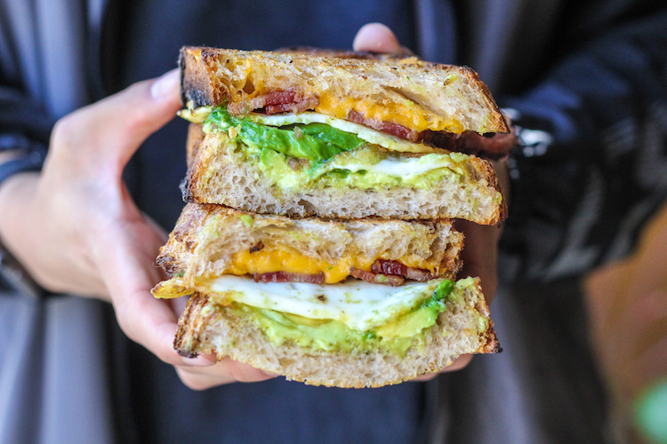 Fried Egg Sandwich : 2 yr gruyere, smoked bacon, avocado, and egg.