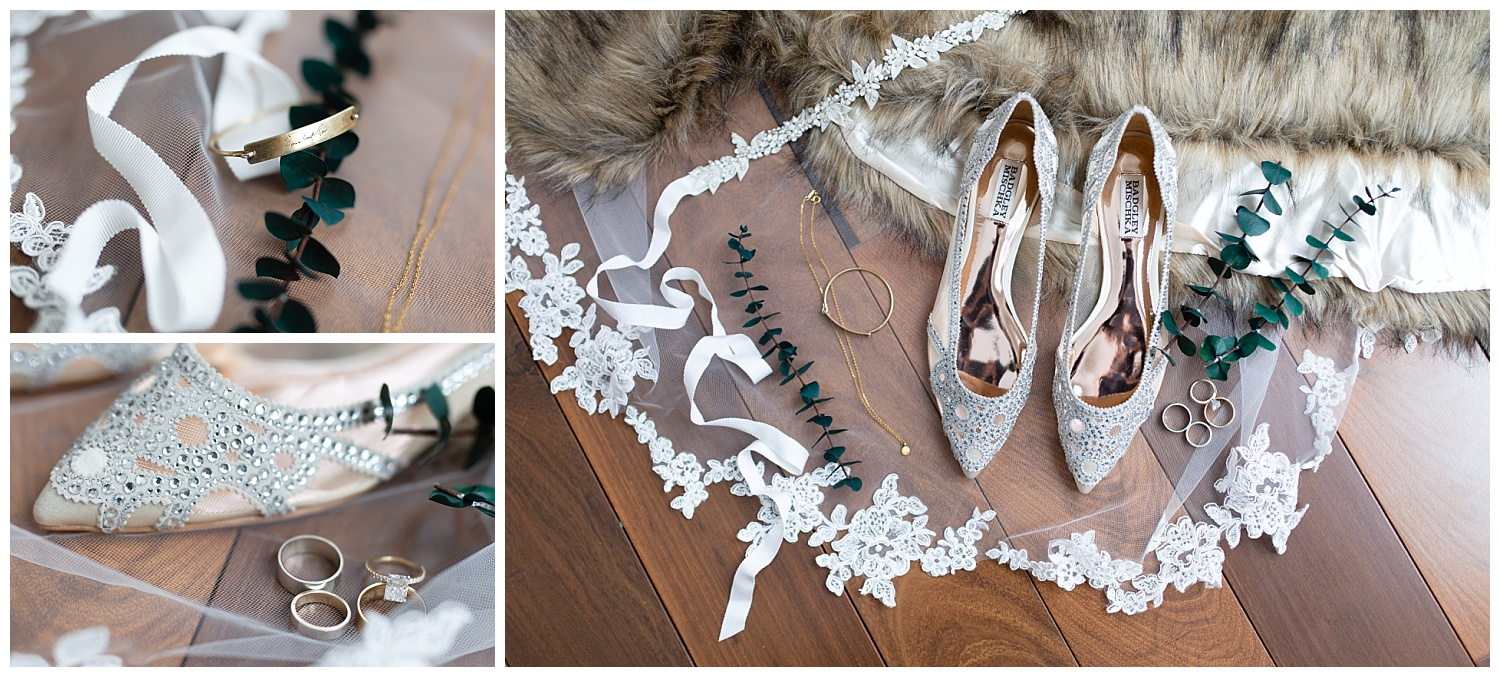 Badgley Mischka wedding shoes displayed with other wedding details