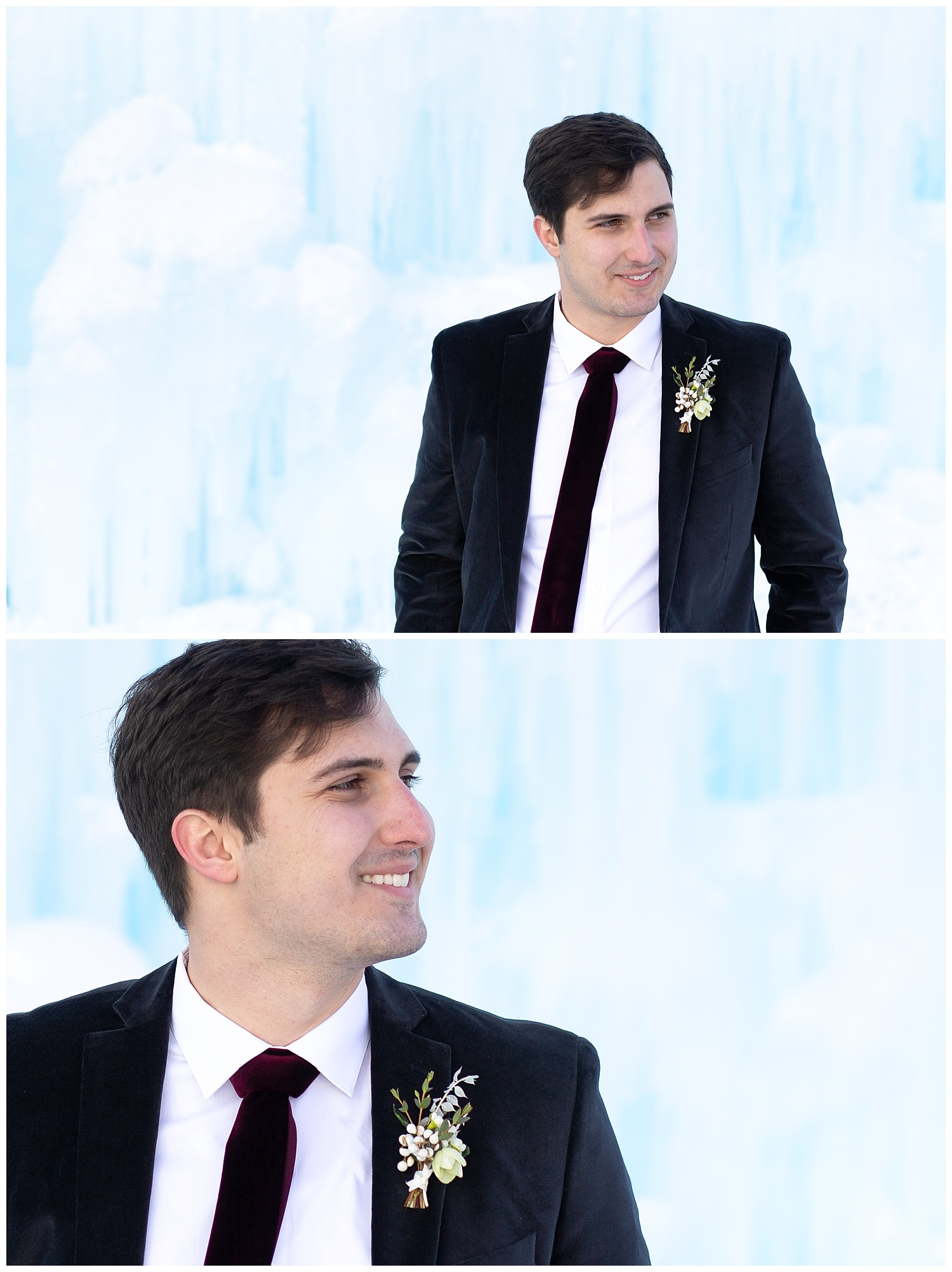 A groom looking to his side and smiling