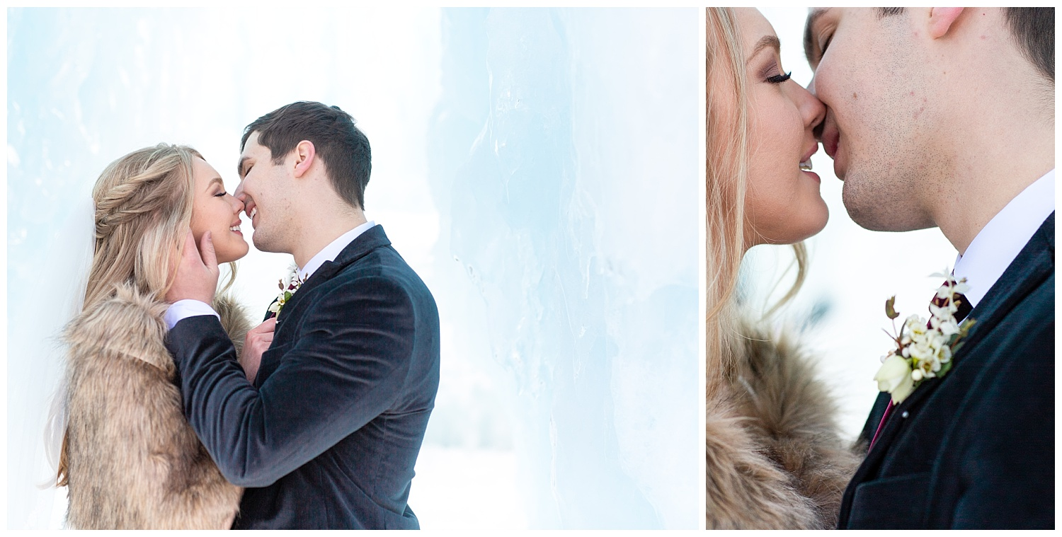 A beautiful couple almost kissing during winter