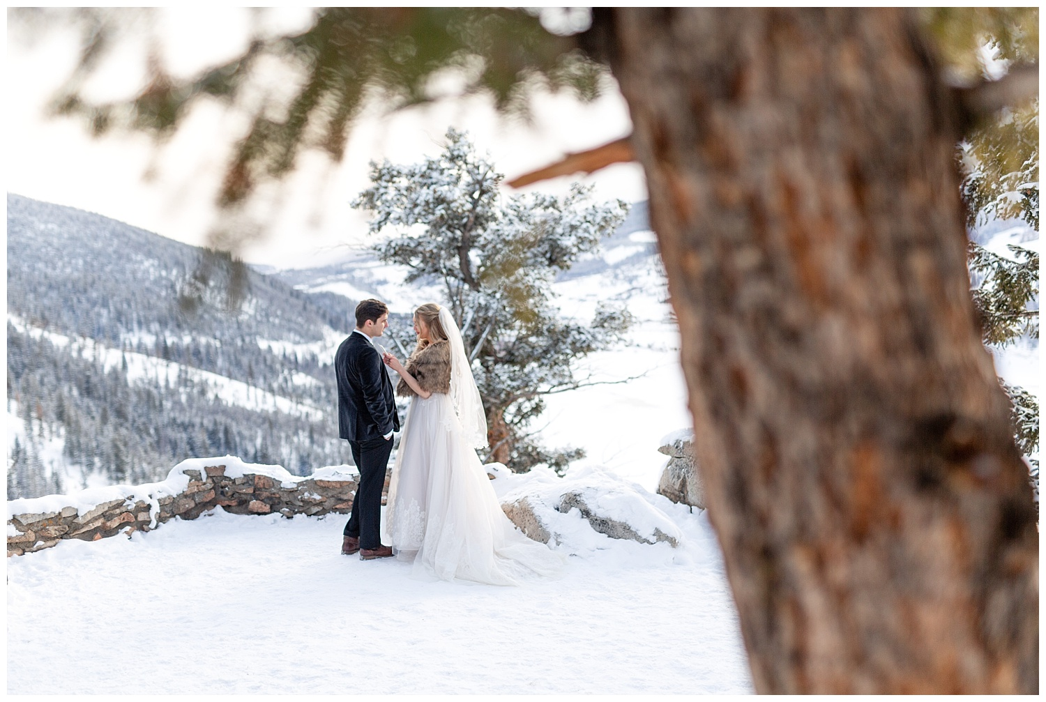 A bride reads her vows to her groom at Sapphire Point in Breckenridge, Colorado