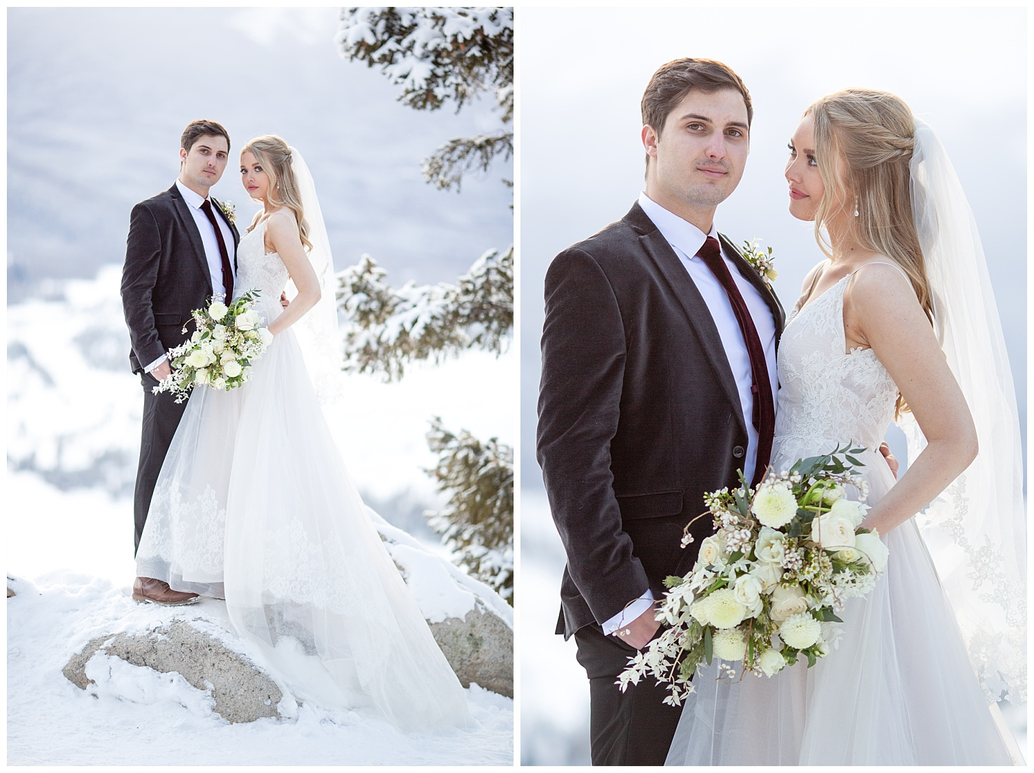 A snowy bridal session at Sapphire Point Overlook