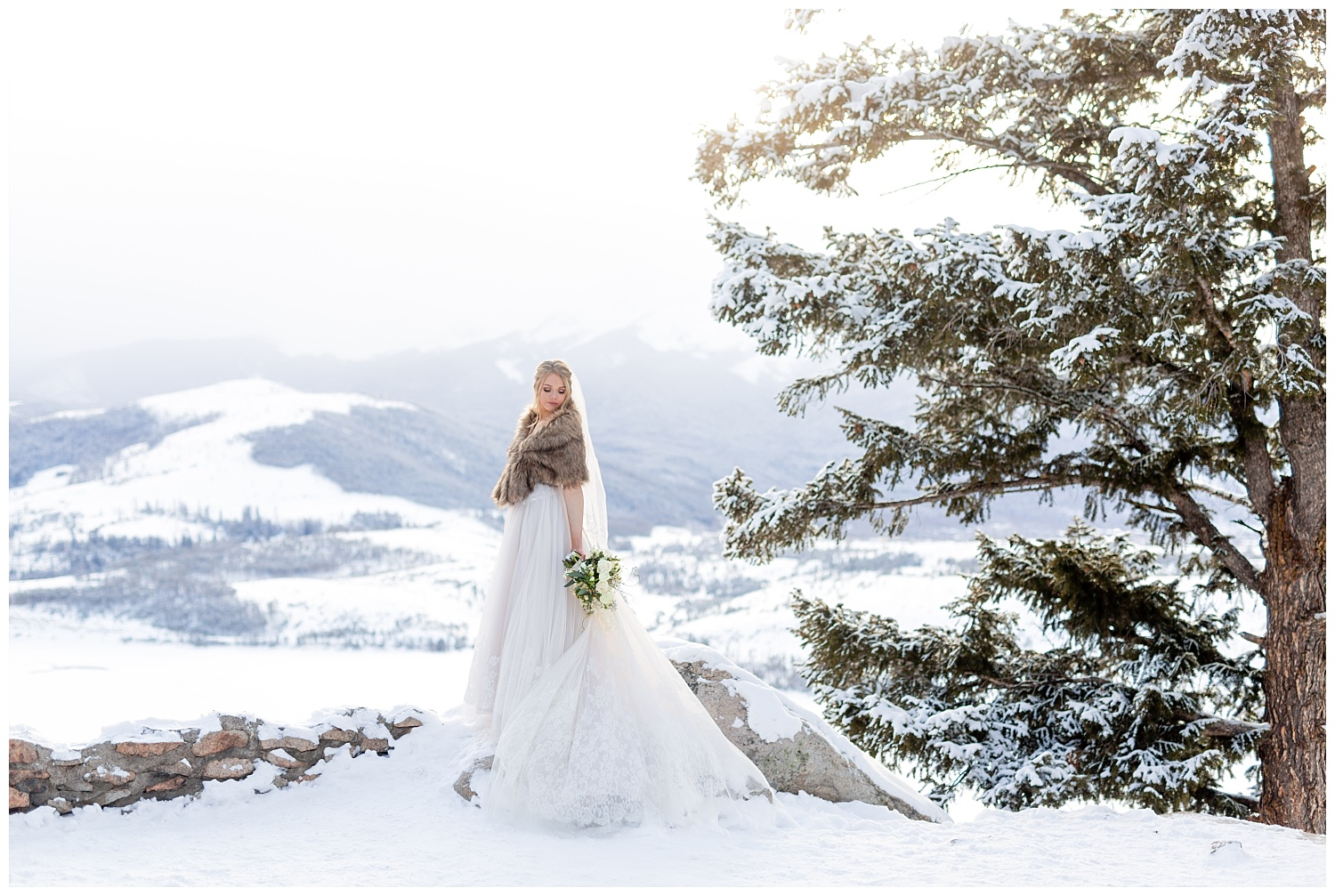 A stunning bride in the mountains of Breckenridge, Colorado