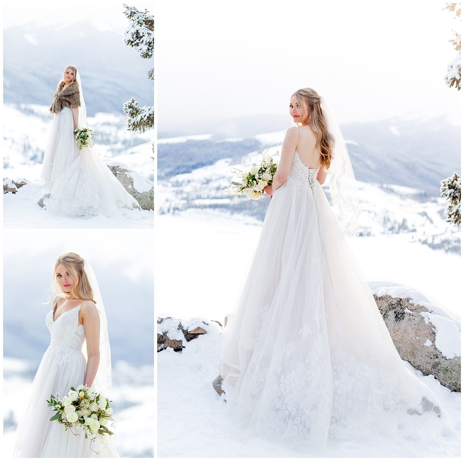 A winter bridal session at Sapphire Point Overlook