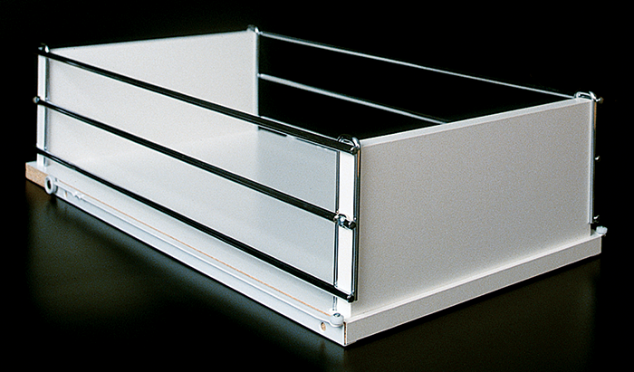 Roll out shelf with chrome sides