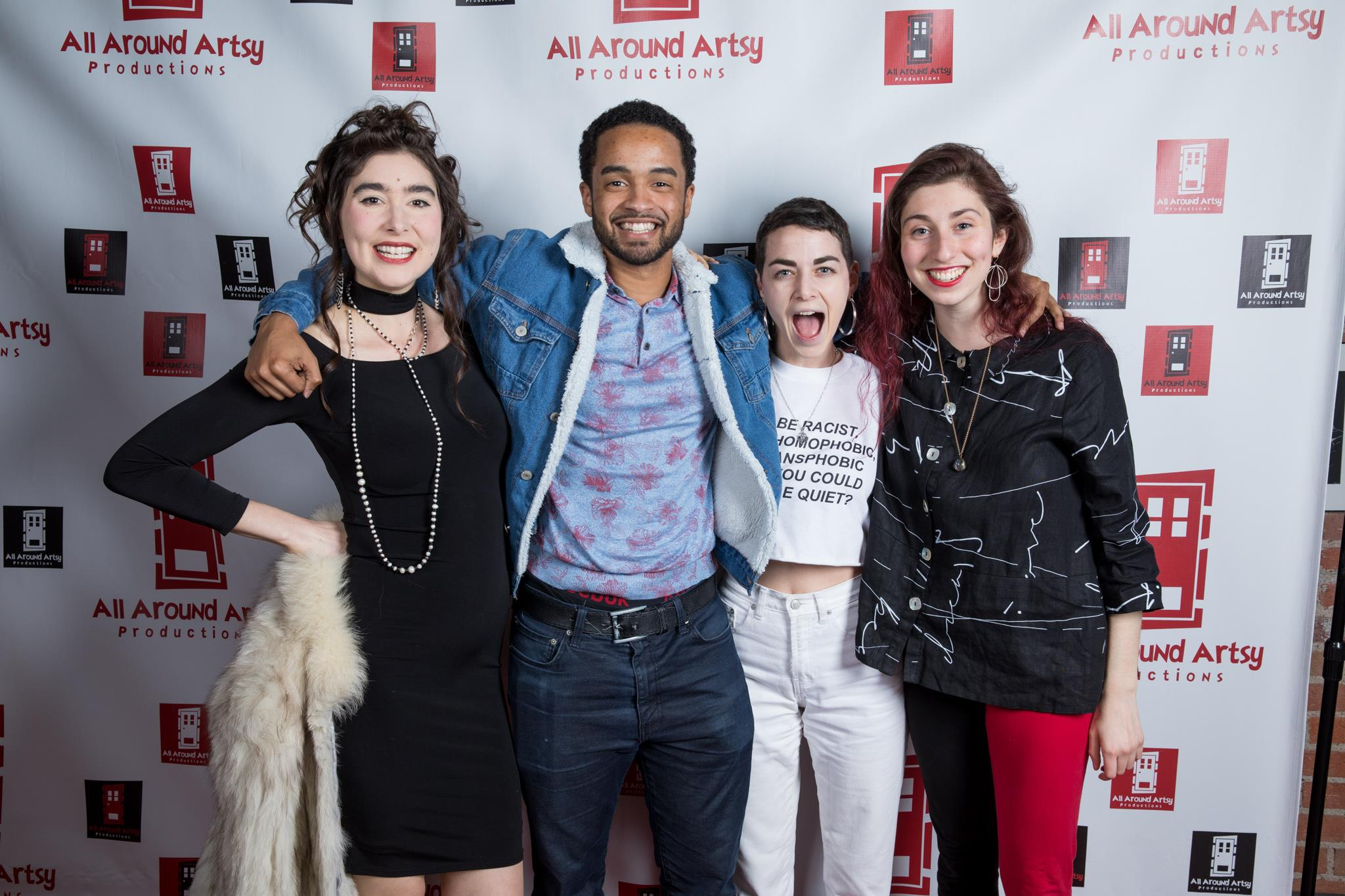 "From Left to Right: ""ReEntry"" (music video) actors Bonnie Rockwood, Drez Ryan and Andie Morgenlander with Director Kira Bursky at the All Around Artsy Music Video Premiere Party."