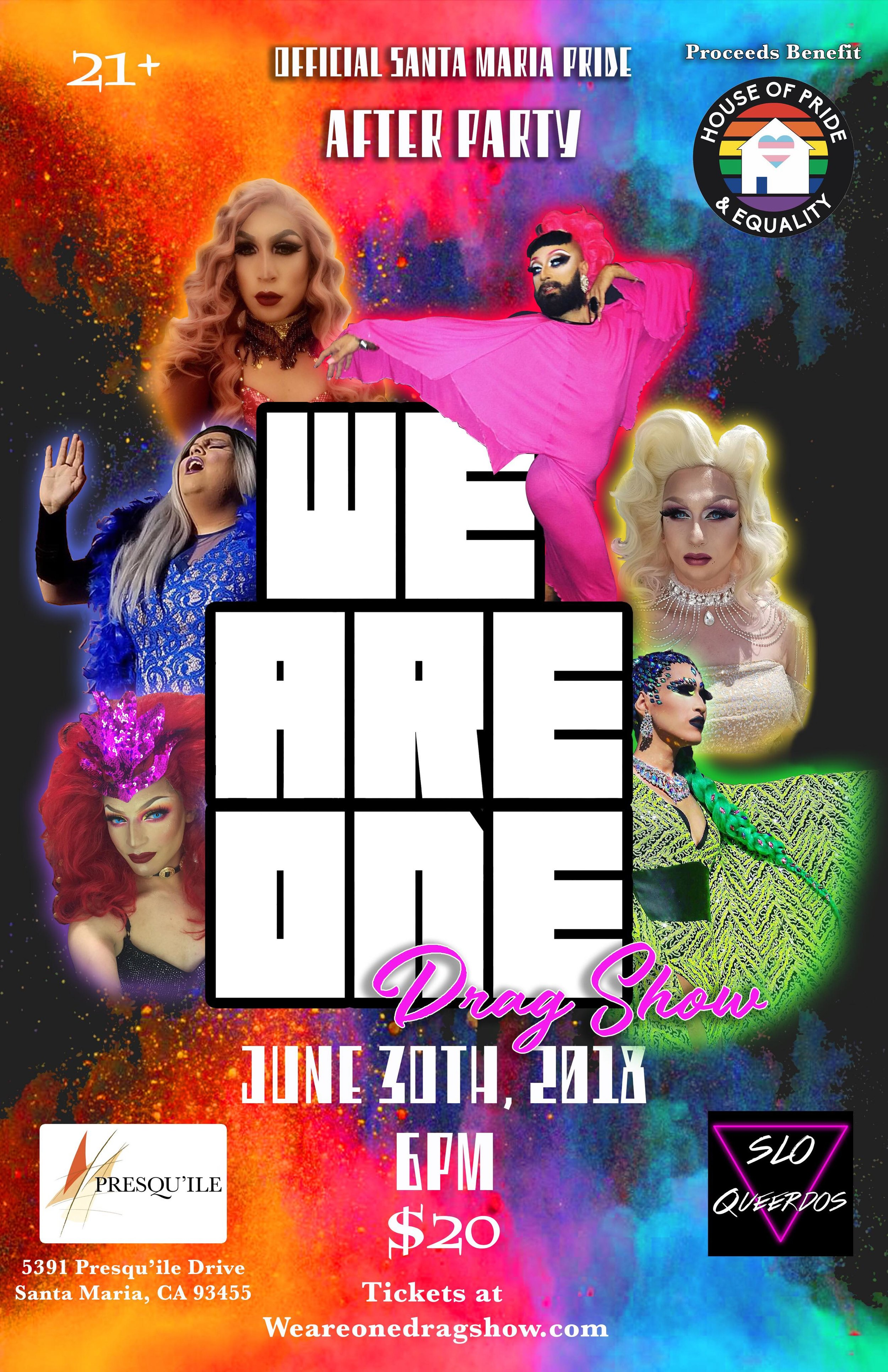 WE ARE ONE - Hosted by: Miss Central Coast 2017: Rubi!Performances by:Lulu Licious, Luxe Trapp, Santanico, Victoria, Nola Diamond, Will Pleaser, Santa Maria, Ultra Violet, and Grace Towers