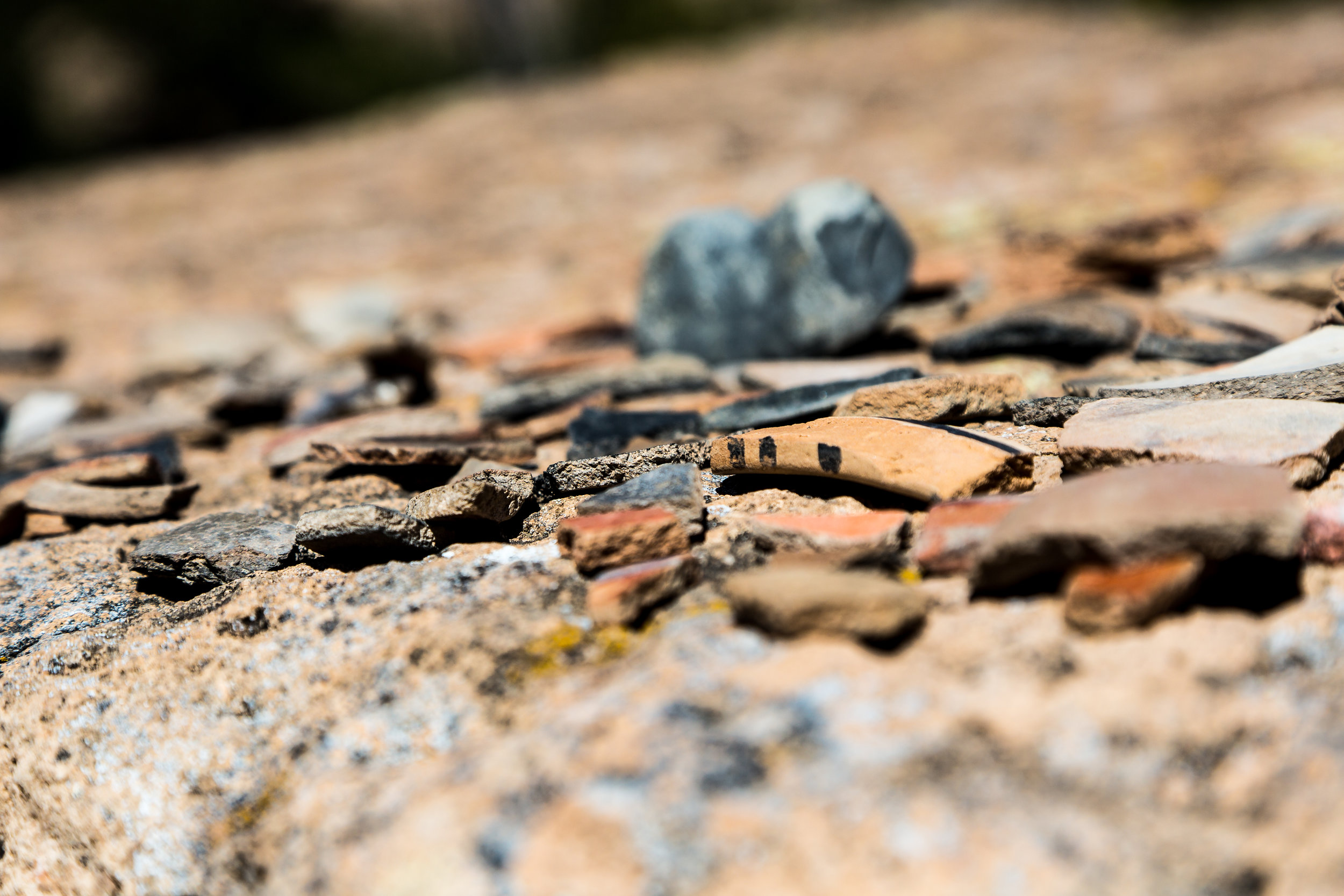 The guides at Puye intentionally collect sherds, obsidian, and other artifacts and place them in piles along the trail for visitors to view.