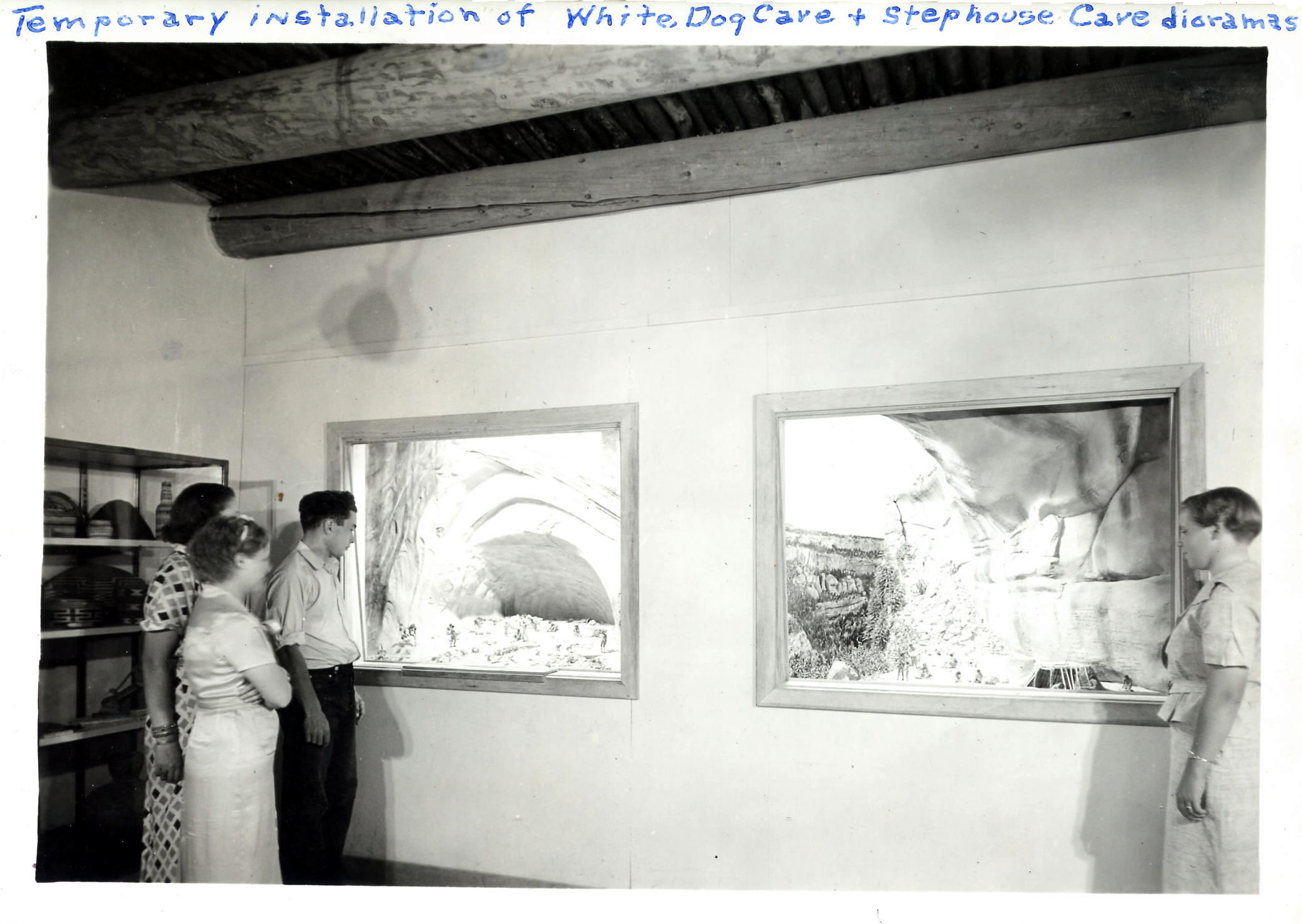 Temporary installation of White Dog Cave and Step House dioramas at Mesa Verde National Park; circa 1930s. NPS Photo.