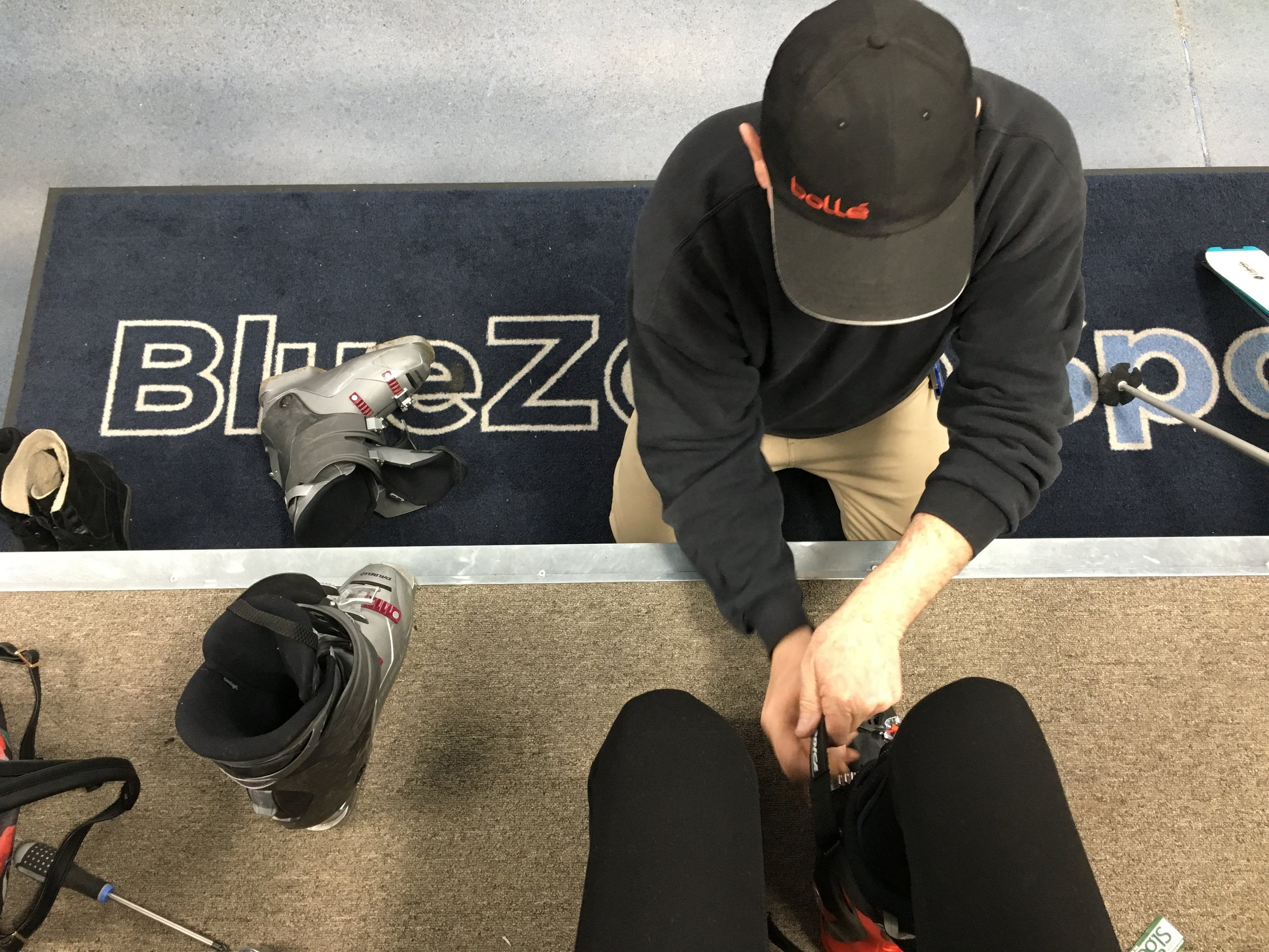 My good friend Bruce fitting my boots and giving me sage advice.