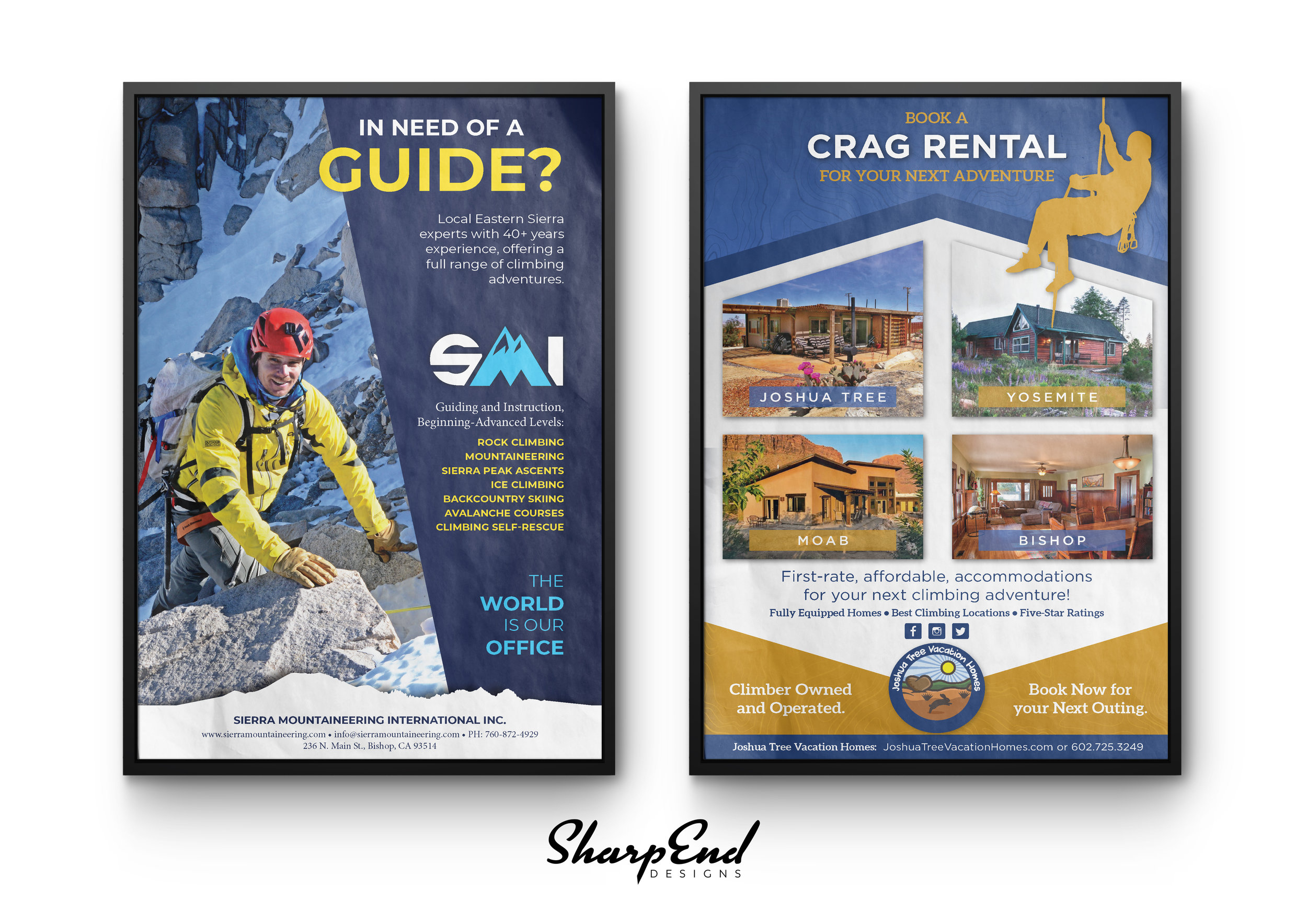 Climbing Guidebook Ad Designs