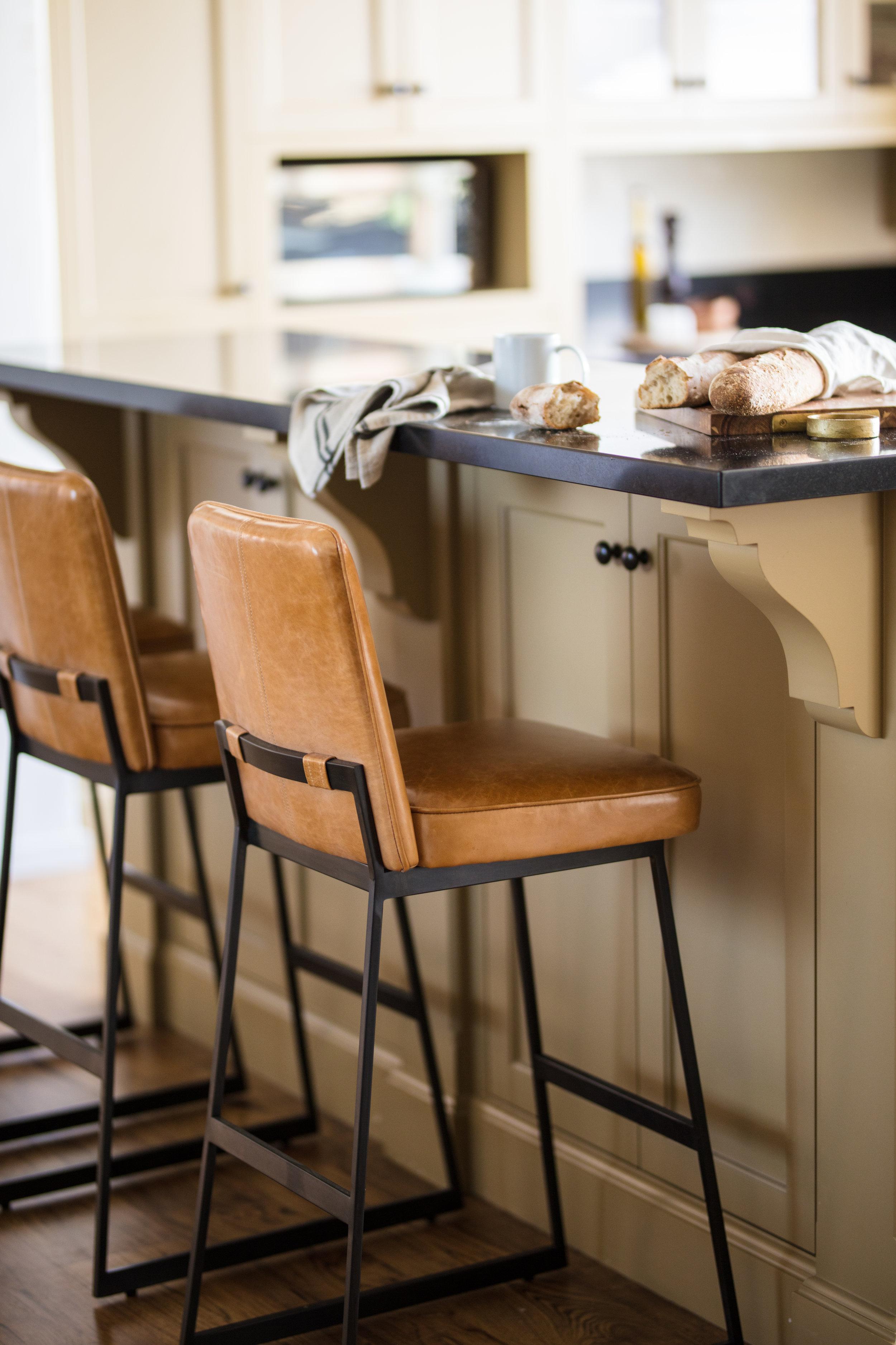 Fletcher Rhodes Interior Design, Kitchen Style, Leather Barstools, Wine Country Kitchen, Kitchen, Farmhouse Style