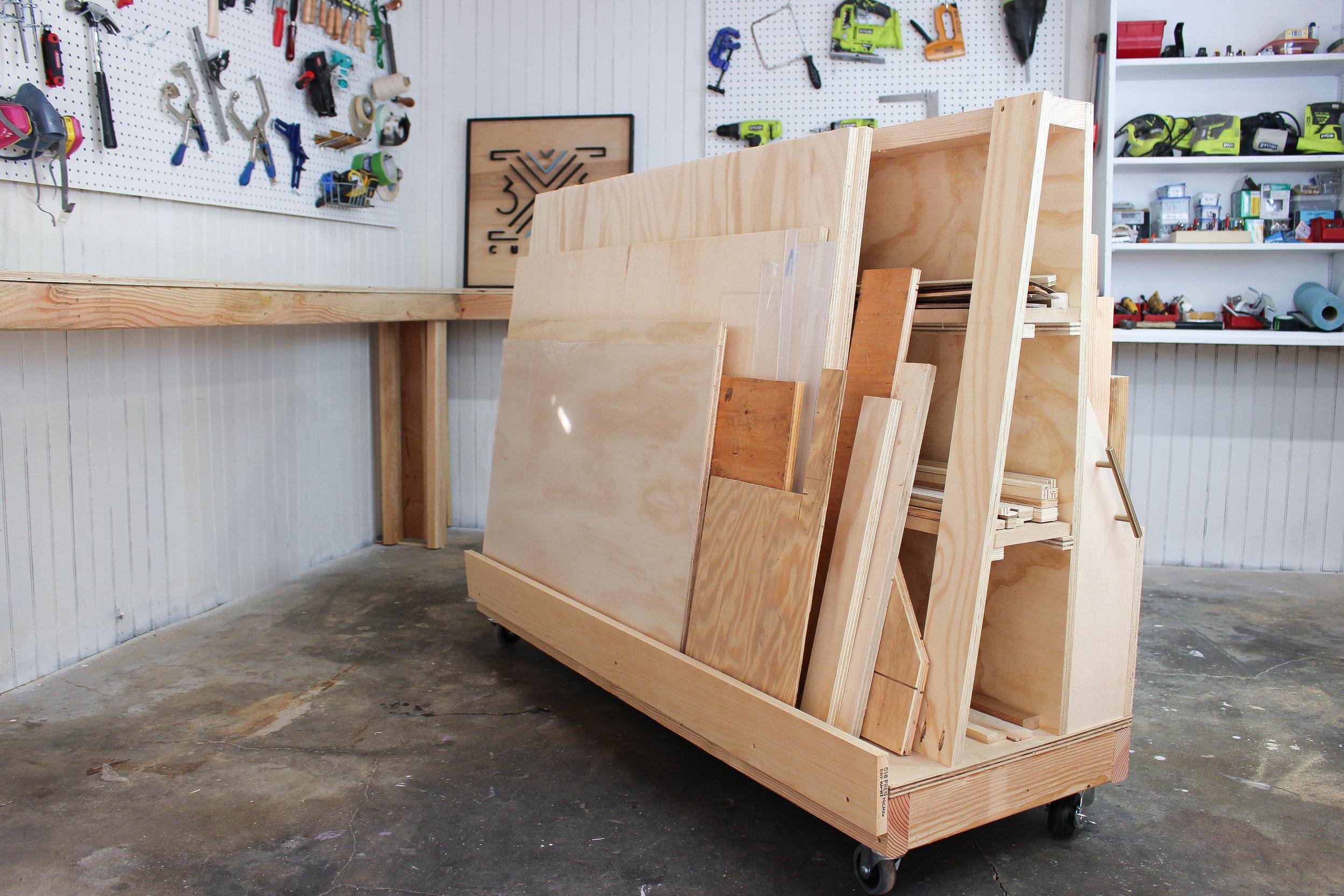 3x3 custom rolling scrap wood storage cart