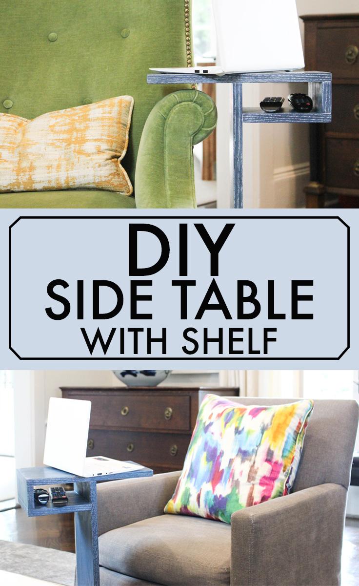 Over Arm Side Table with Storage Shelf - 3x3 Custom