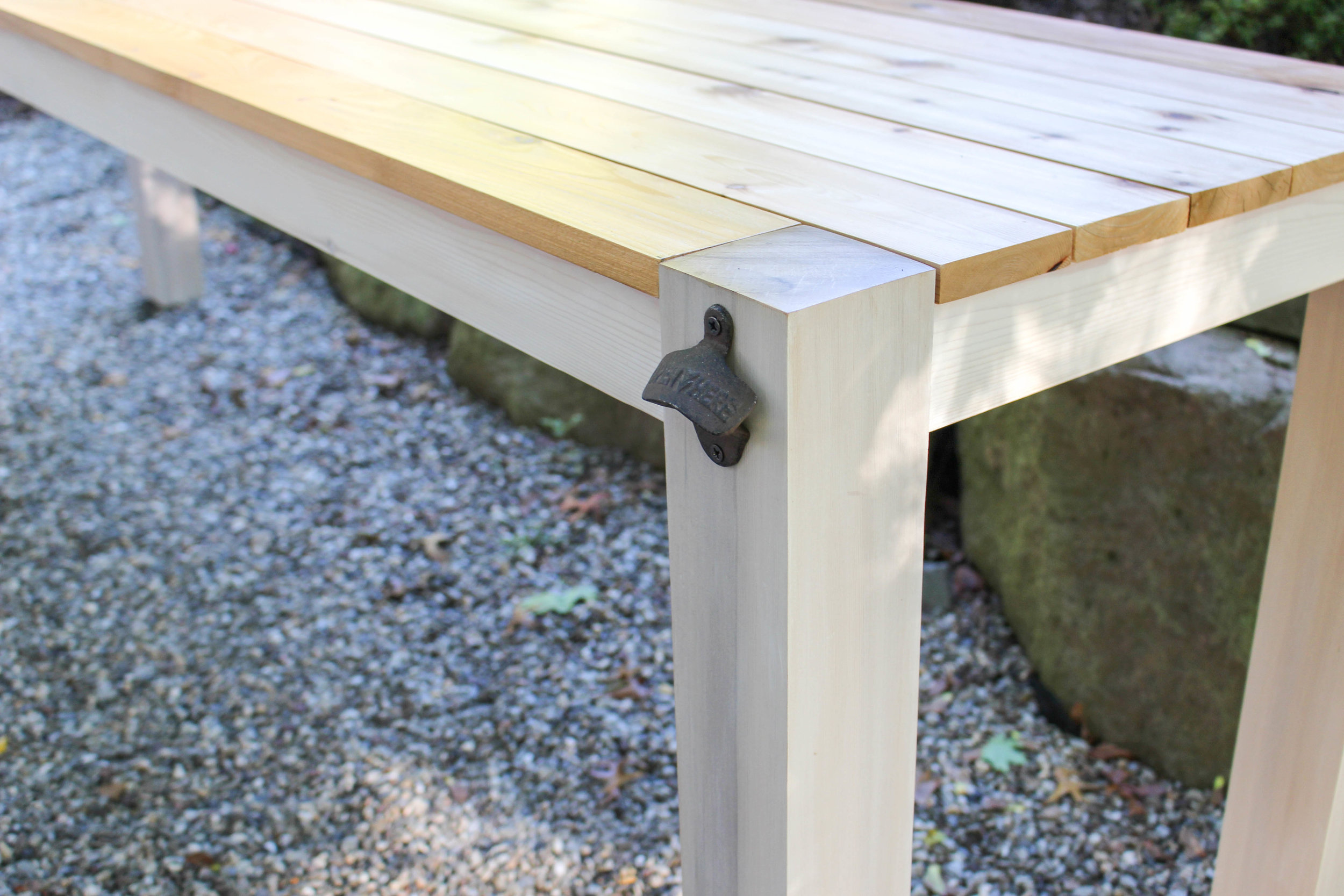 Outdoor Table with Built-In Bottle Opener