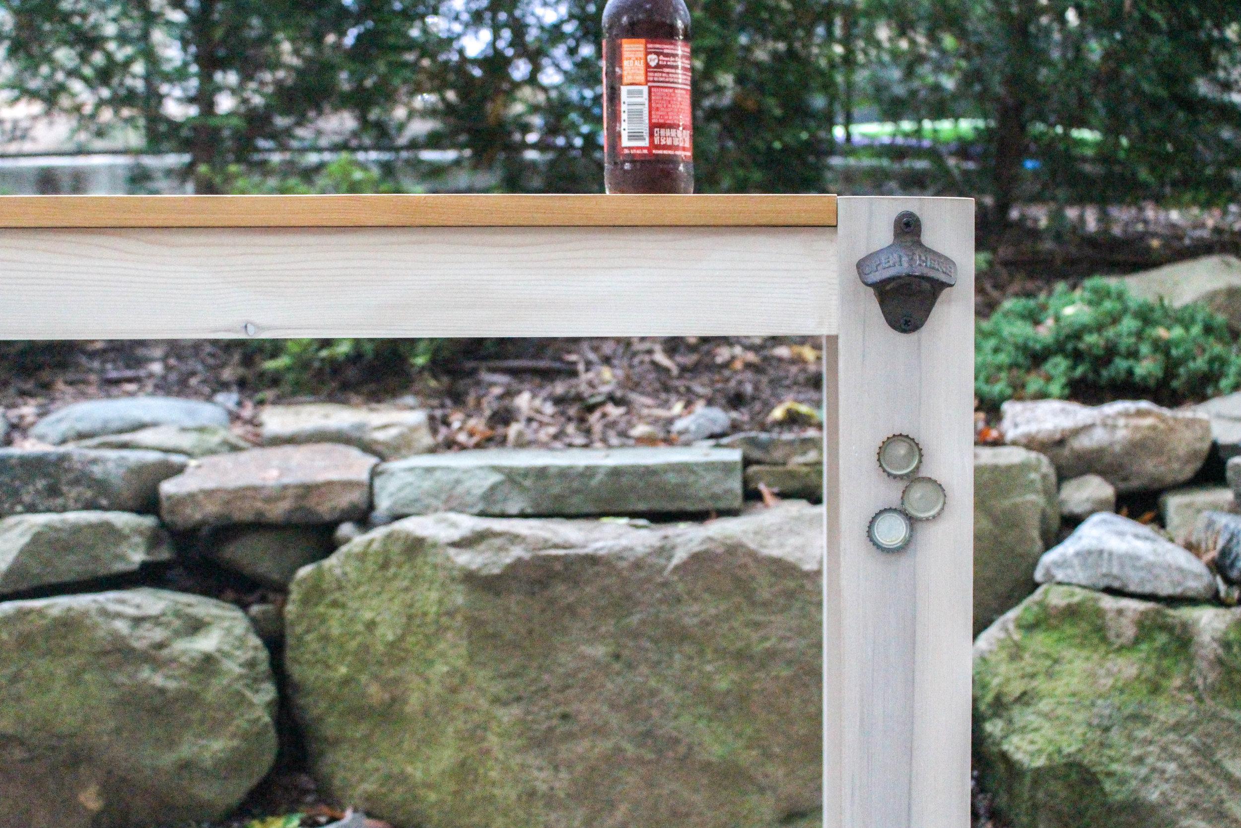 Outdoor Table with Built-In Bottle Cap Catcher