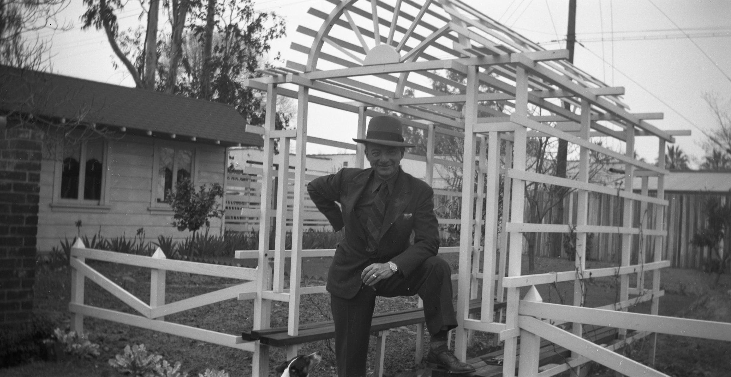 1943 - Raymond Nelson in his backyard.