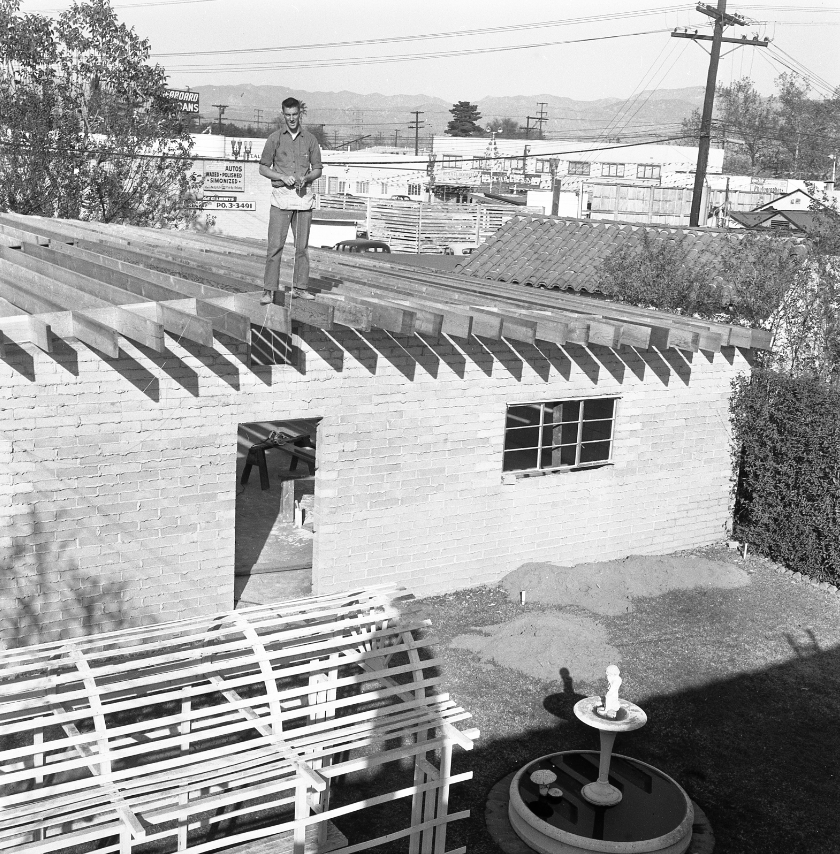 1956 - Construction Begins on the Big Garage at the Roadster House