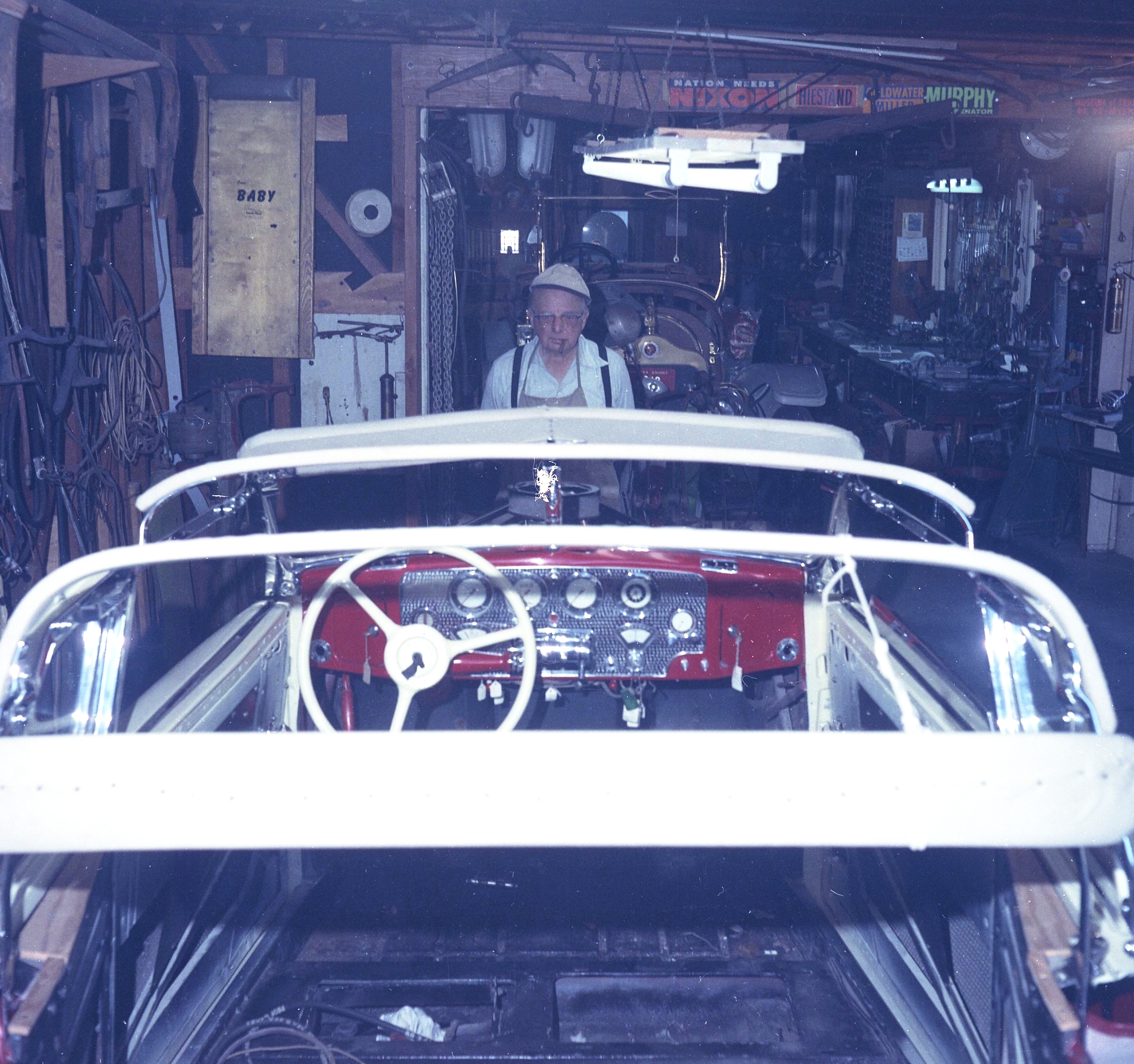 Ray Nelson working in the Original Garage