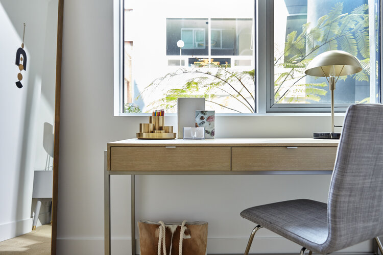 Desk and accessories
