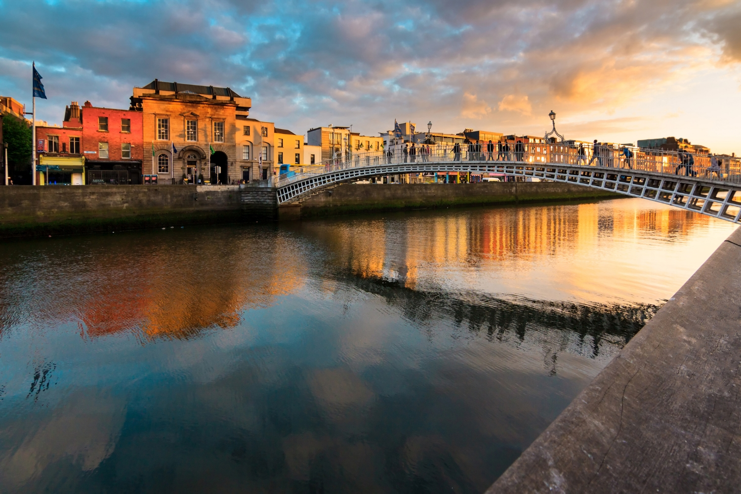 Dublin City - Visit Dublin's famous Christ Church and St. Patricks Cathedral's. View the Book of Kells at Trinity College. Shop on famed Grafton Street. For Museum lovers, head to The National Gallery of Ireland with over 10,000 works of art and the National Museum of Ireland to learn about Ireland through the ages. Sample the popular dry stout from the roof deck of the Guinness Storehouse and whiskey at Jameson Distillery. Head to the popular Temple Bar District for pubs, music and the re-discovered 17th Century Smock Alley theater with a not-to-miss stroll over the Ha' Penny Bridge, especially beautiful at night.