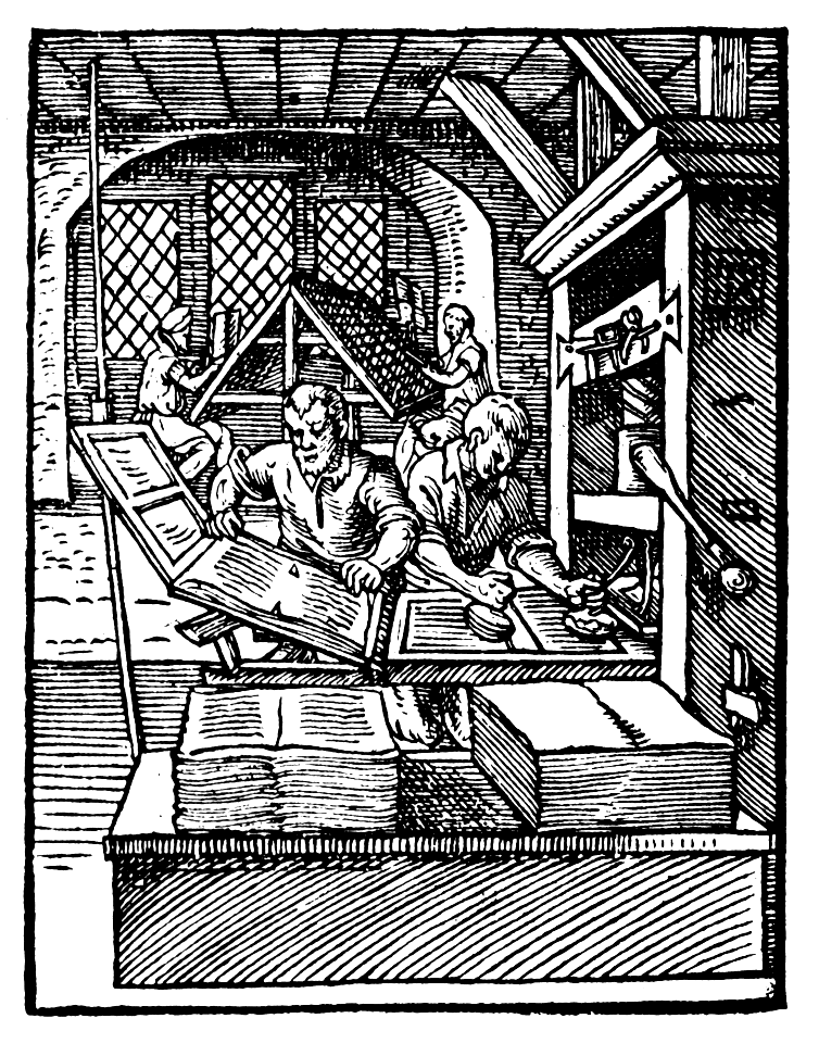 Two People in Olden Times Operate A Printing Press. Woodcut. 1568.By Jost Amman - Meggs, Philip B. A History of Graphic Design. John Wiley & Sons, Inc. 1998. (p 64), Public Domain. Wikicommons.