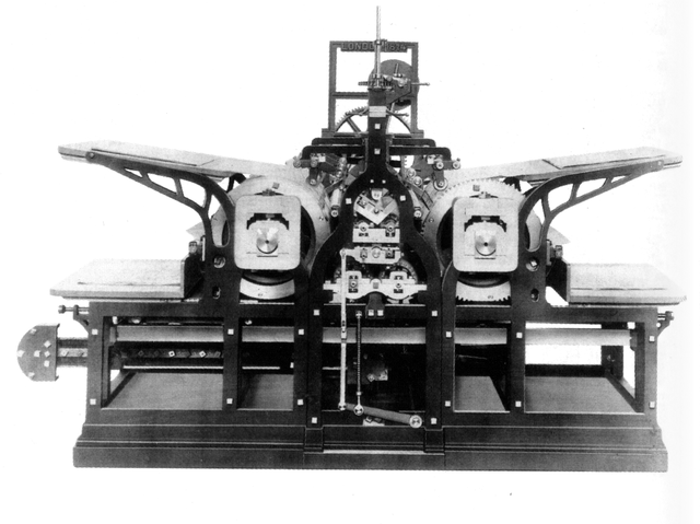 Koenig 's 1814 steam-powered printing press. By User:Parhamr - Meggs, Philip B. A History of Graphic Design. John Wiley & Sons, Inc. 1998. (p 132),  Public Domain.