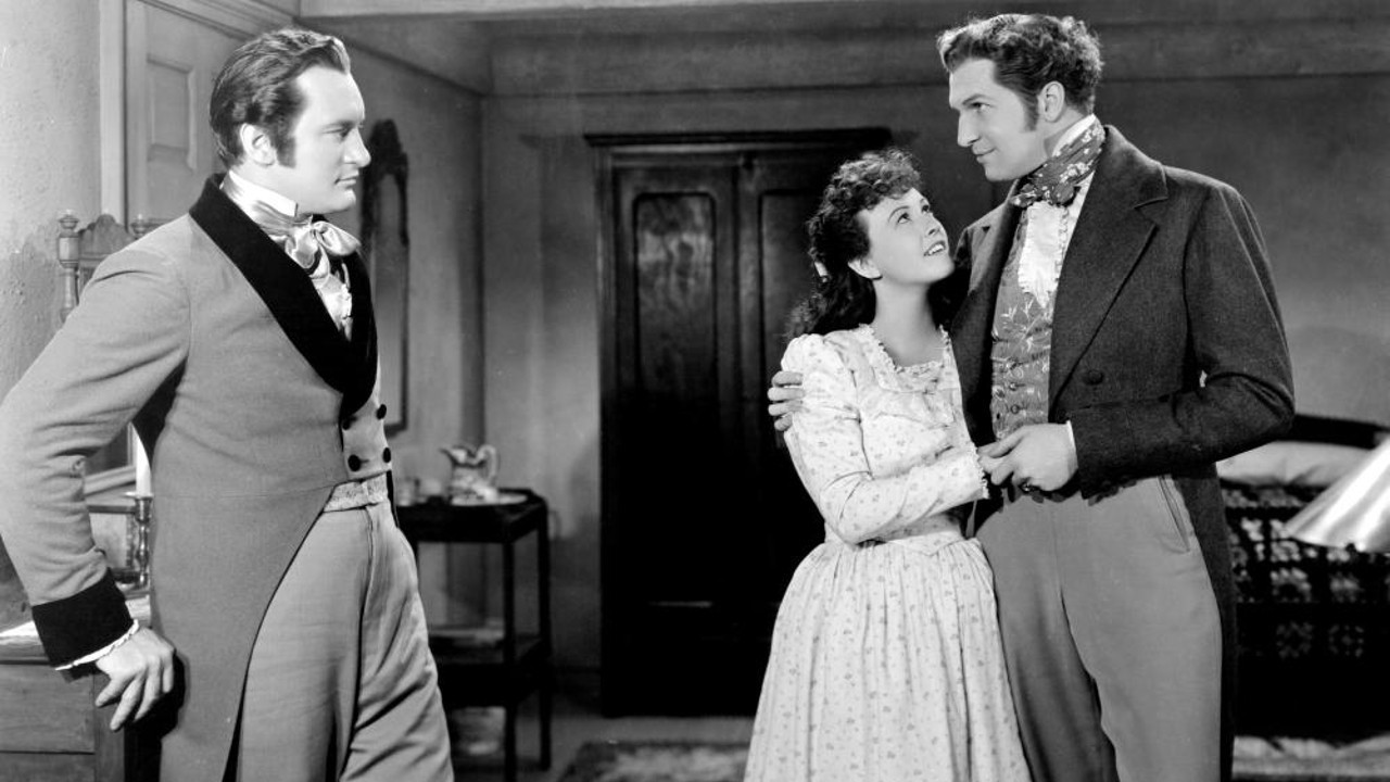 George Sanders as Jaffrey, Margaret Lindsay as Hepzibah, and Vincent Price as Clifford. Via  Christina Wehner