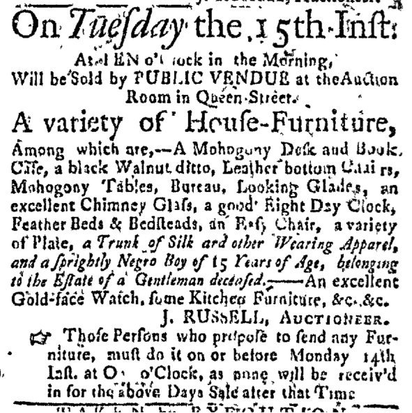 """""""A sprightly Negro Boy of 15 Years of Age . . . """" Slavery Adverts 260 via the twitter.  https://twitter.com/SlaveAdverts250/status/1061257168429604864/photo/1"""